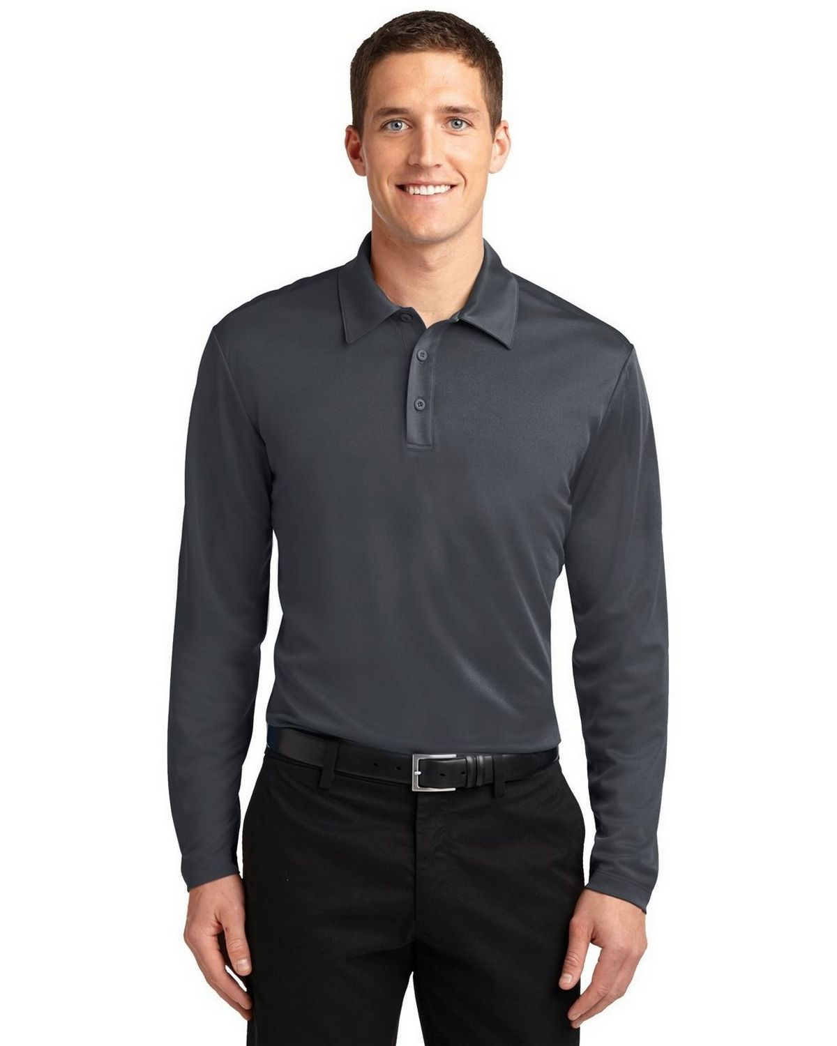 Port Authority K540LS Men's Silk Touch Performance Polo - Steel Grey - XS #silk
