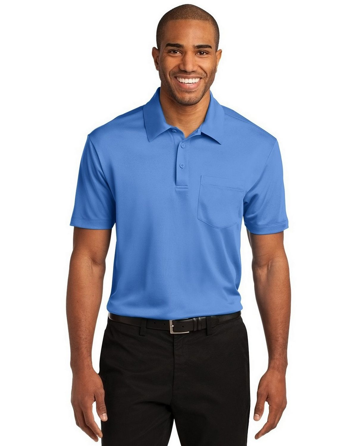 Port Authority K540P Men's Silk Touch Performance Pocket Polo - Carolina Blue - XS #silk