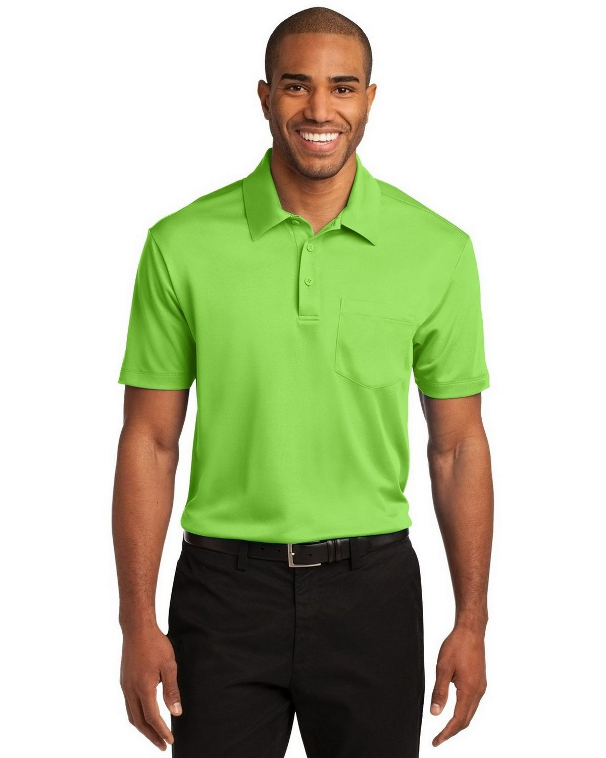 Port Authority K540P Men's Silk Touch Performance Pocket Polo - Lime - XS #silk