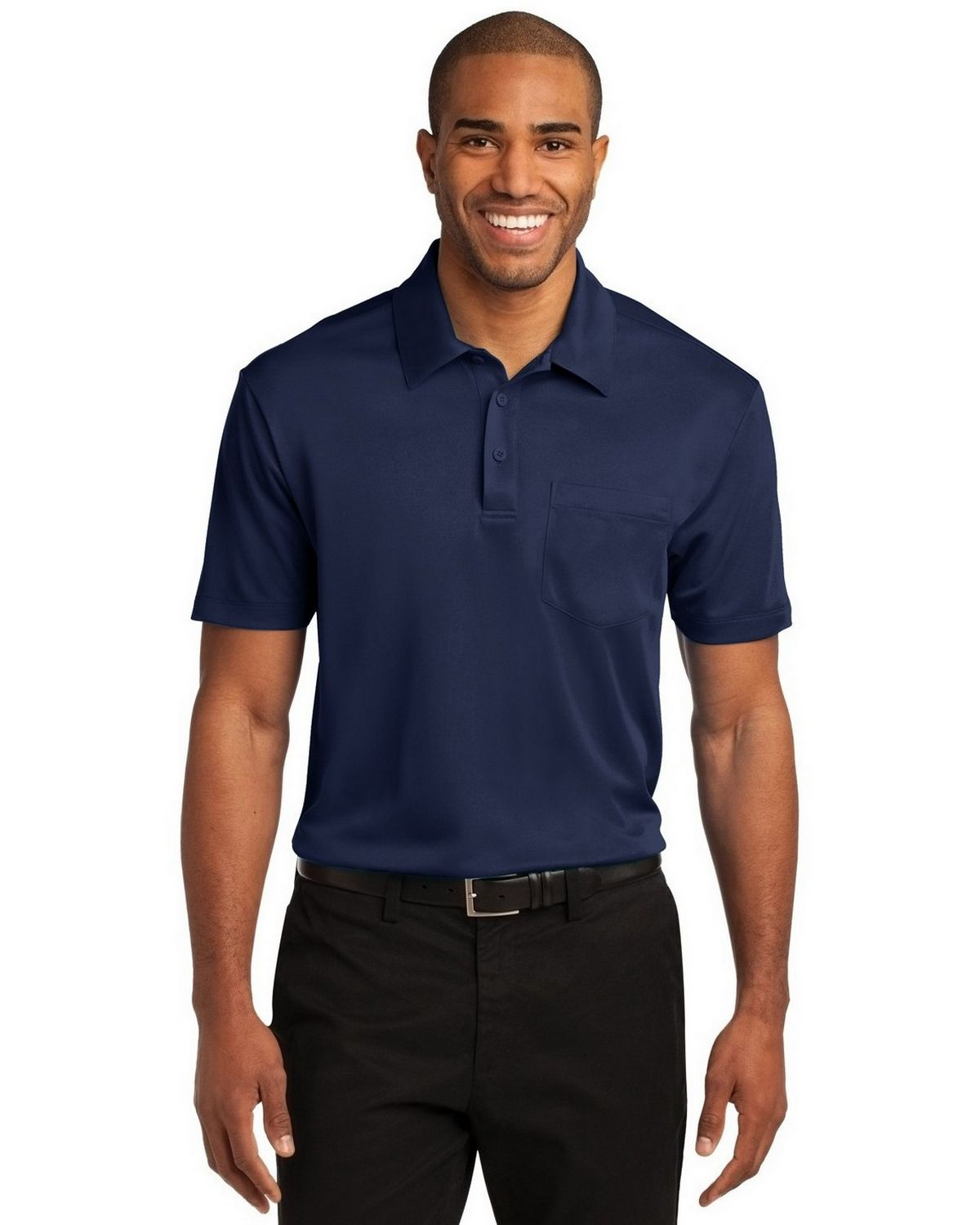 Port Authority K540P Men's Silk Touch Performance Pocket Polo - Navy - XS #silk