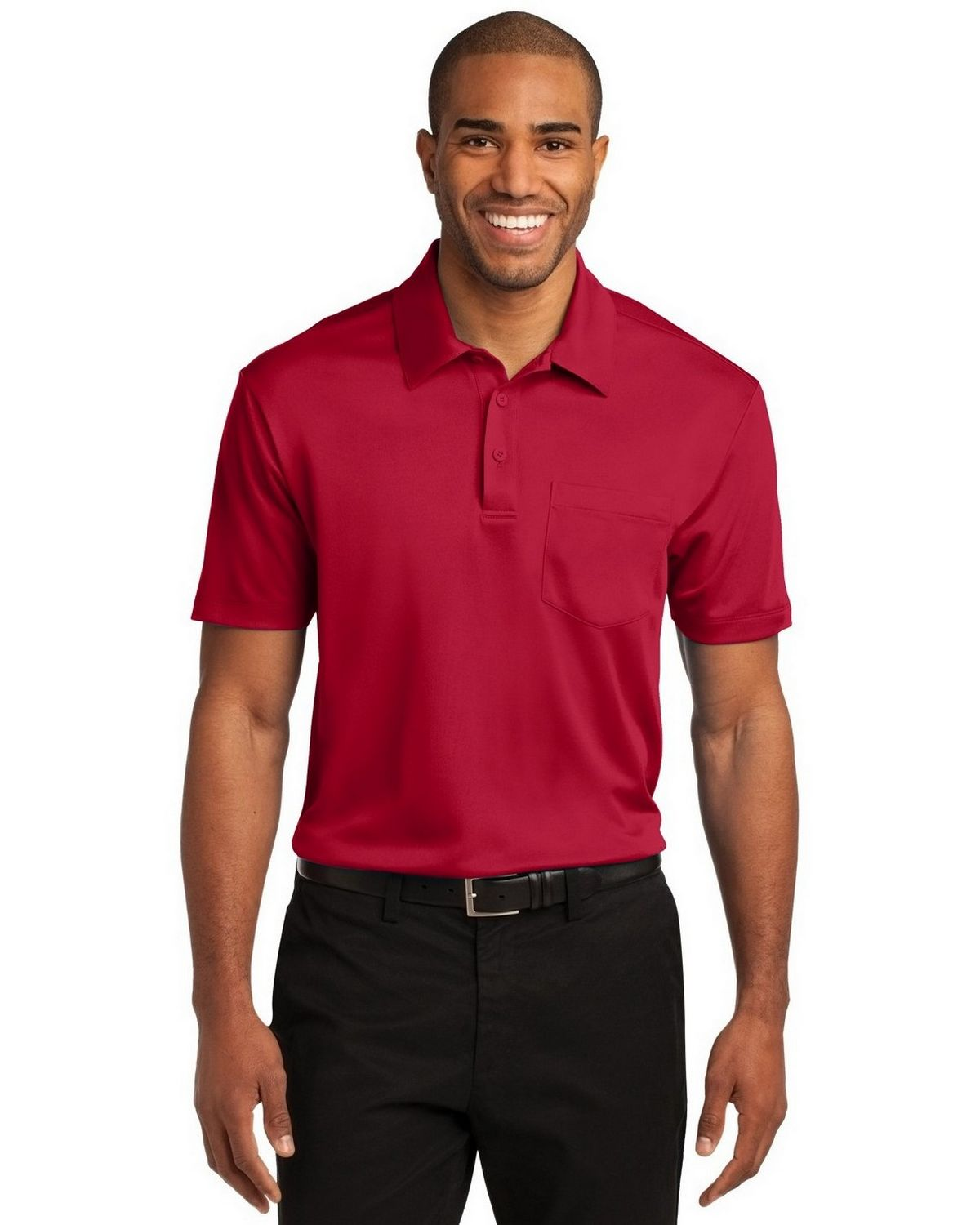 Port Authority K540P Men's Silk Touch Performance Pocket Polo - Red - XS #silk