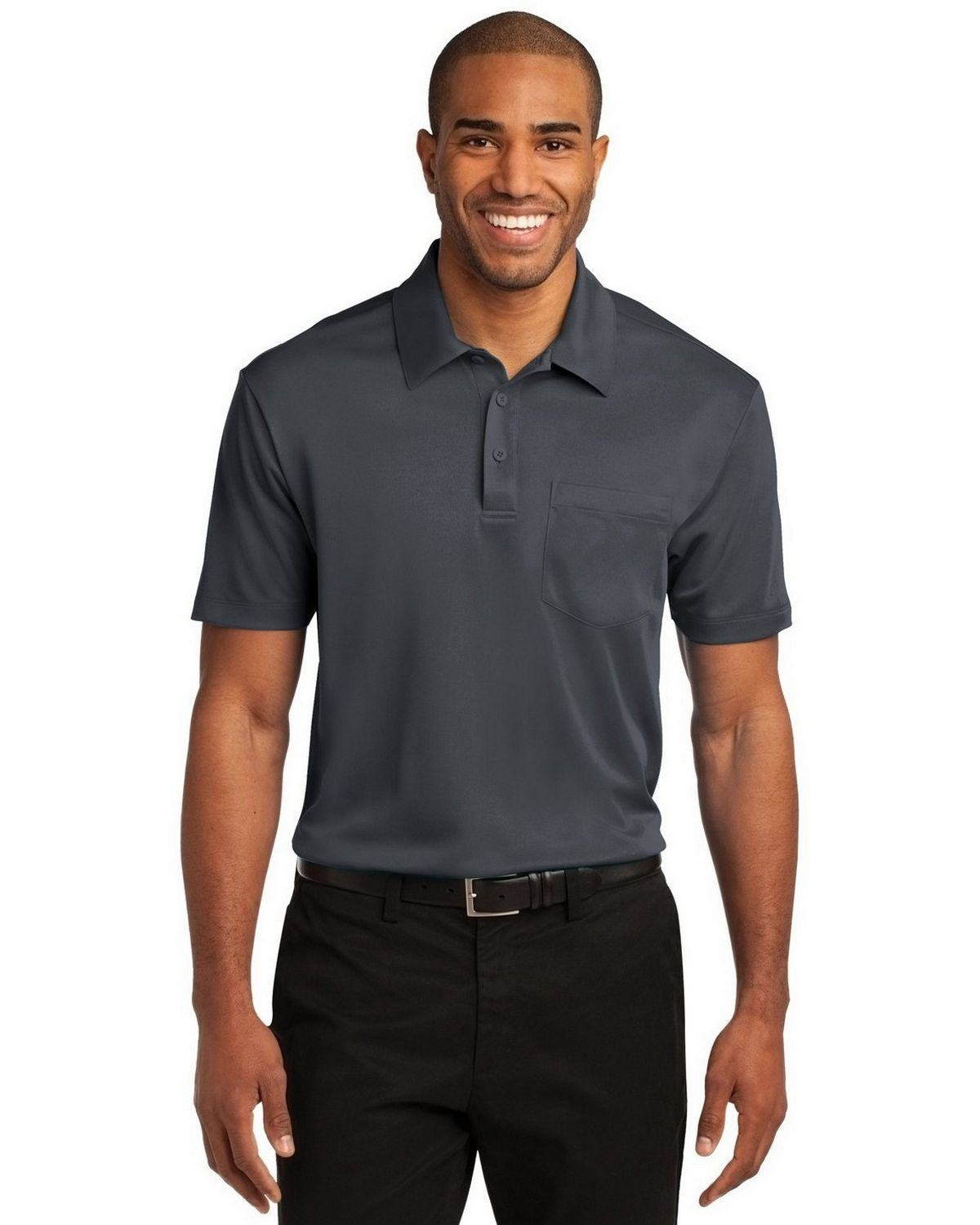 Port Authority K540P Men's Silk Touch Performance Pocket Polo - Steel Grey - XS #silk