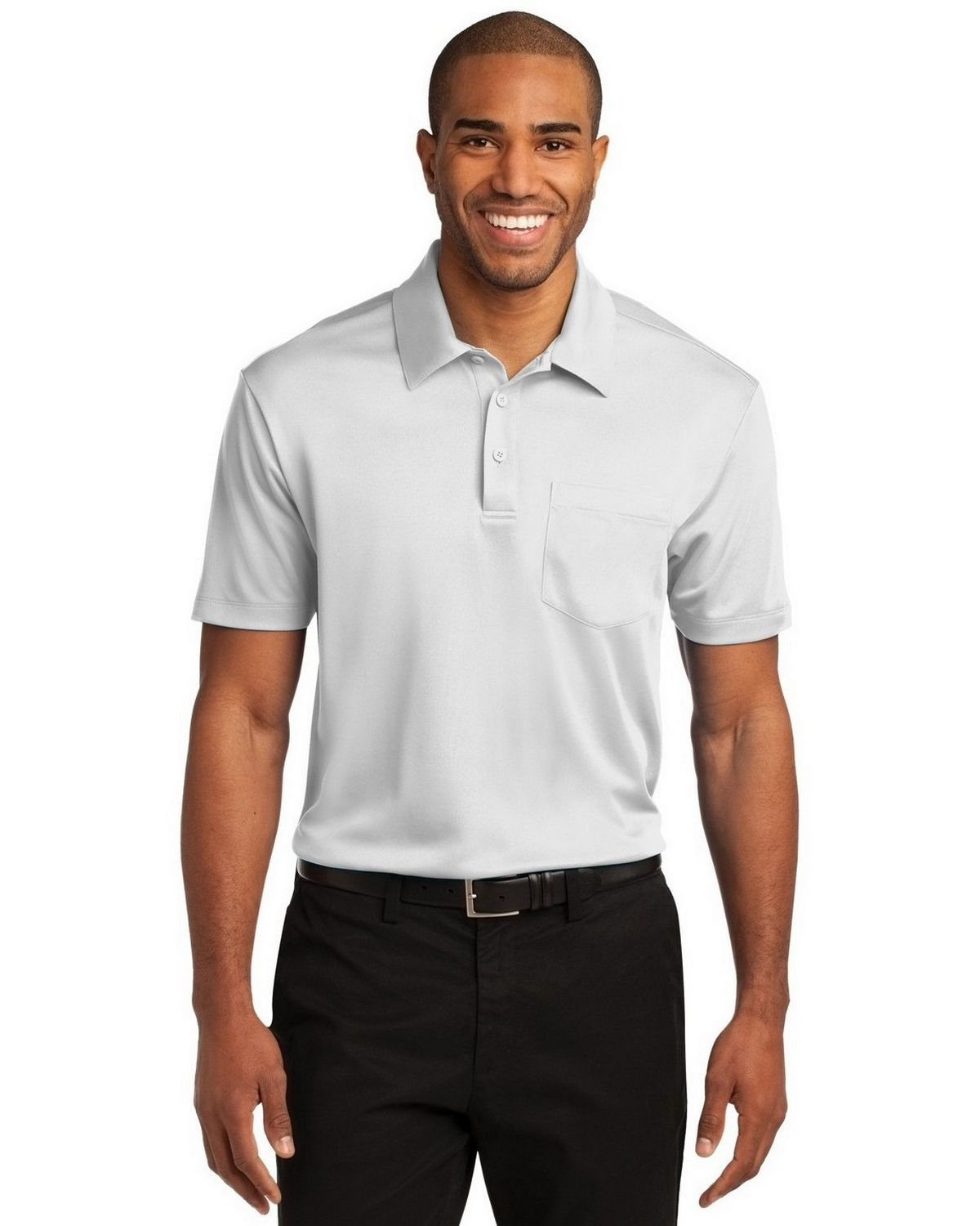 Port Authority K540P Men's Silk Touch Performance Pocket Polo - White - XS #silk