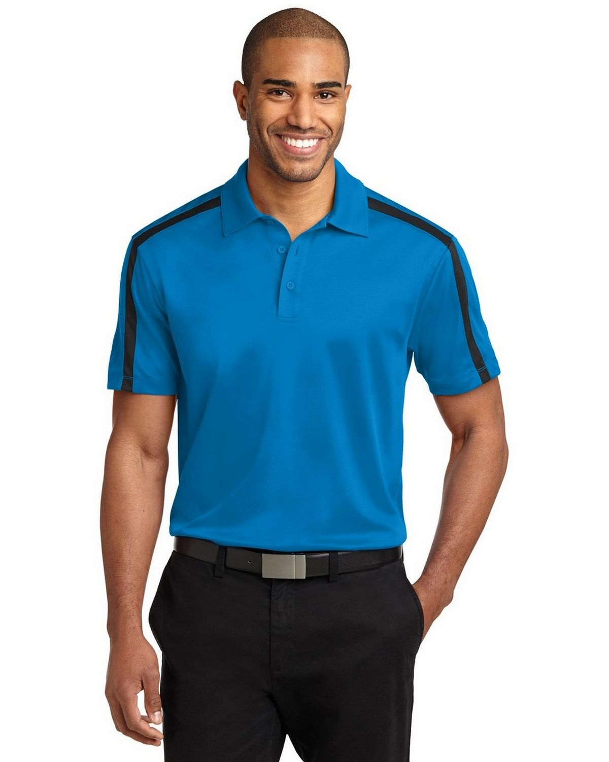 Port Authority K547 Men's Silk Touch Performance Colorblock Stripe Polo - Brilliant Blue/Black - XS #silk