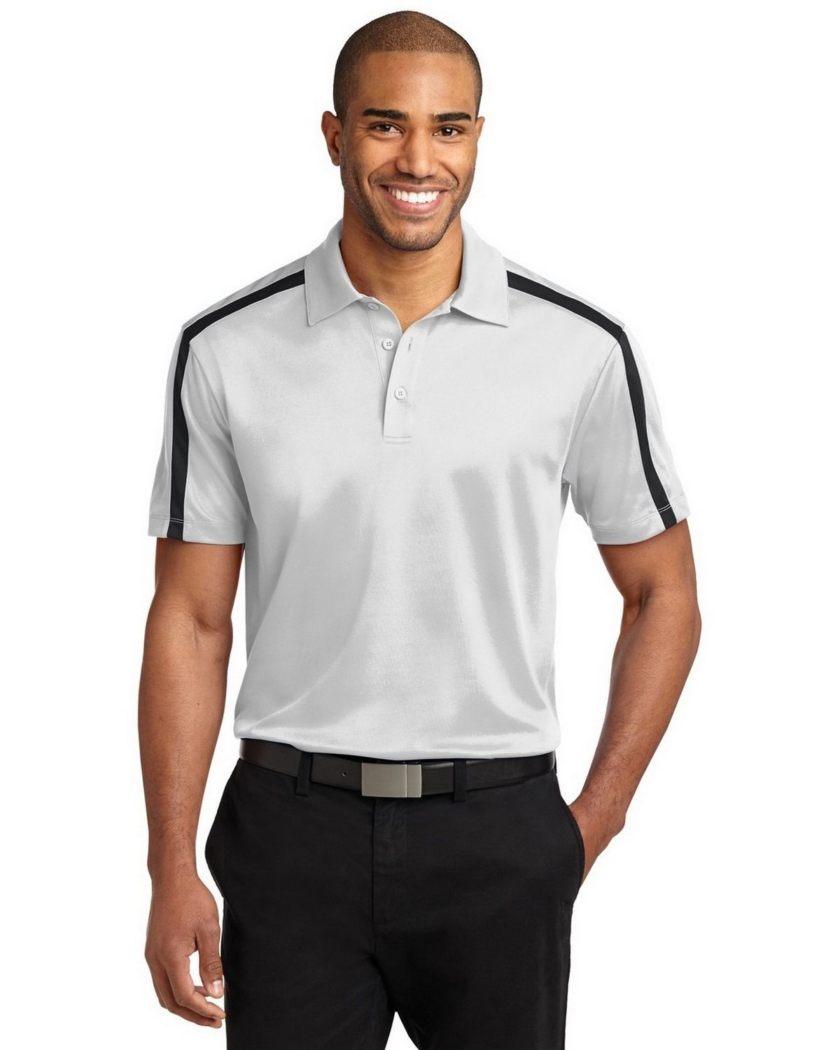 Port Authority K547 Men's Silk Touch Performance Colorblock Stripe Polo - White/Black - XS #silk