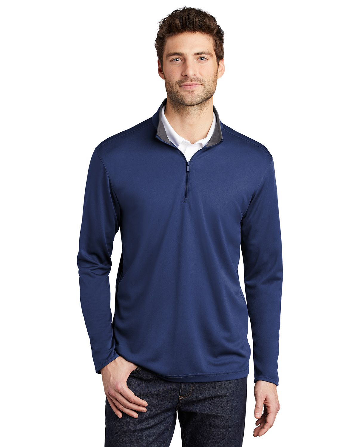 Port Authority K584 Men's Silk Touch Performance 1/4-Zip - Royal/ Steel Grey - XS #silk