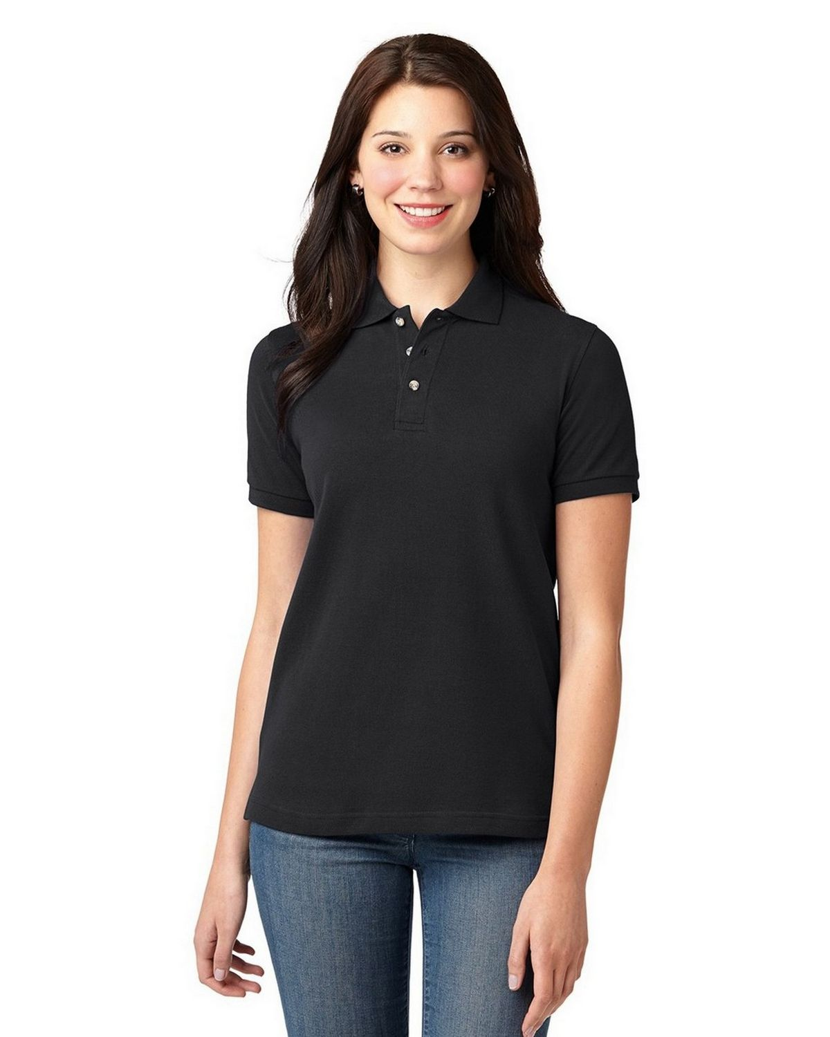 Port Authority L420 Pique Knit Polo - Black - XS