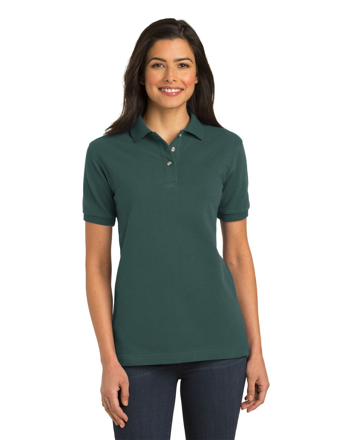 Port Authority L420 Womens Pique Knit Polo - Dark Green - XS