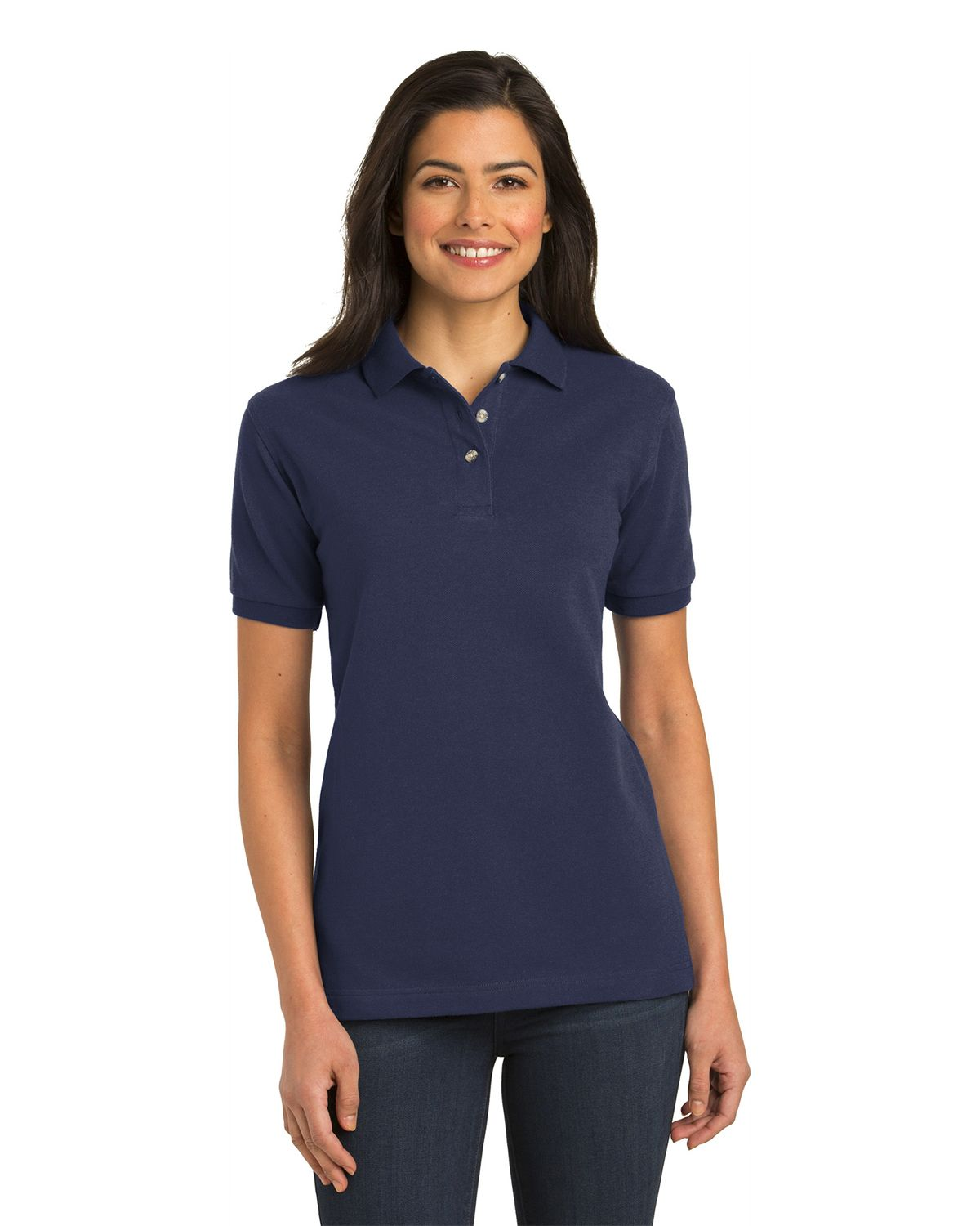 Port Authority L420 Womens Pique Knit Polo - Navy - XS