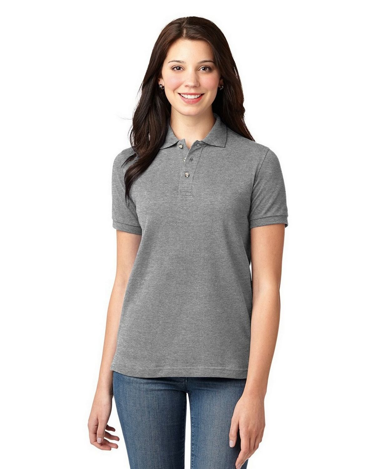 Port Authority L420 Womens Pique Knit Polo - Oxford - XS