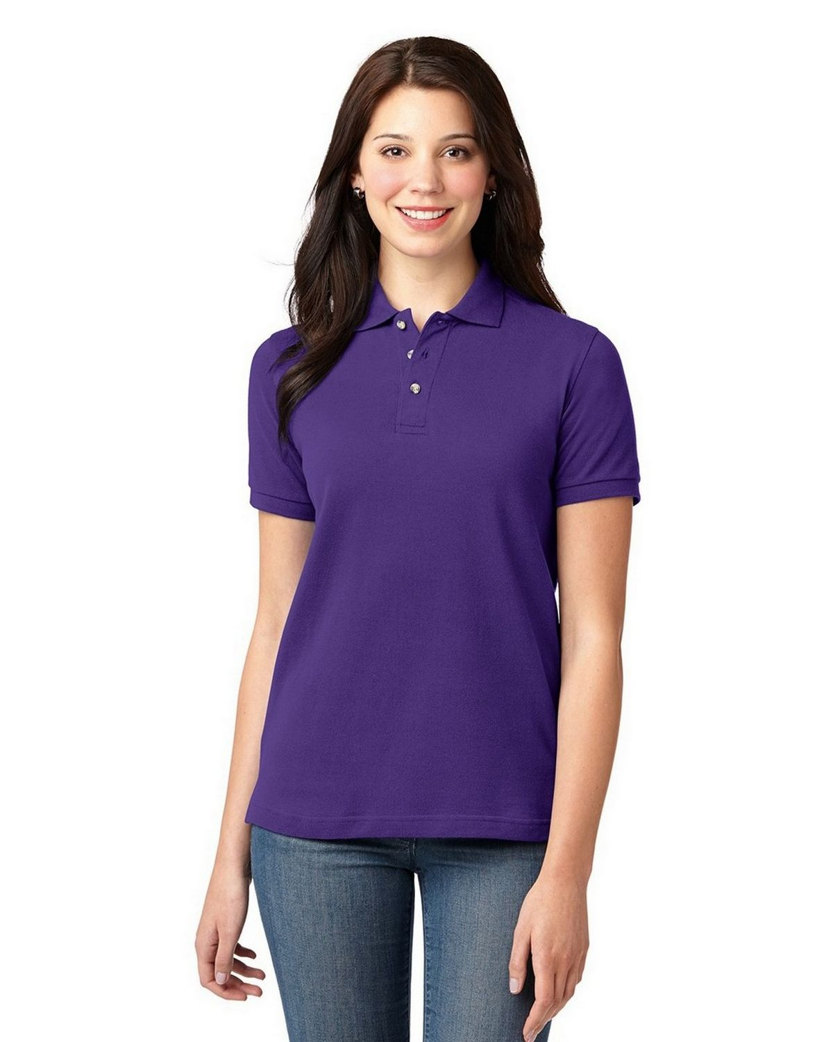 Port Authority L420 Womens Pique Knit Polo - Purple - XS
