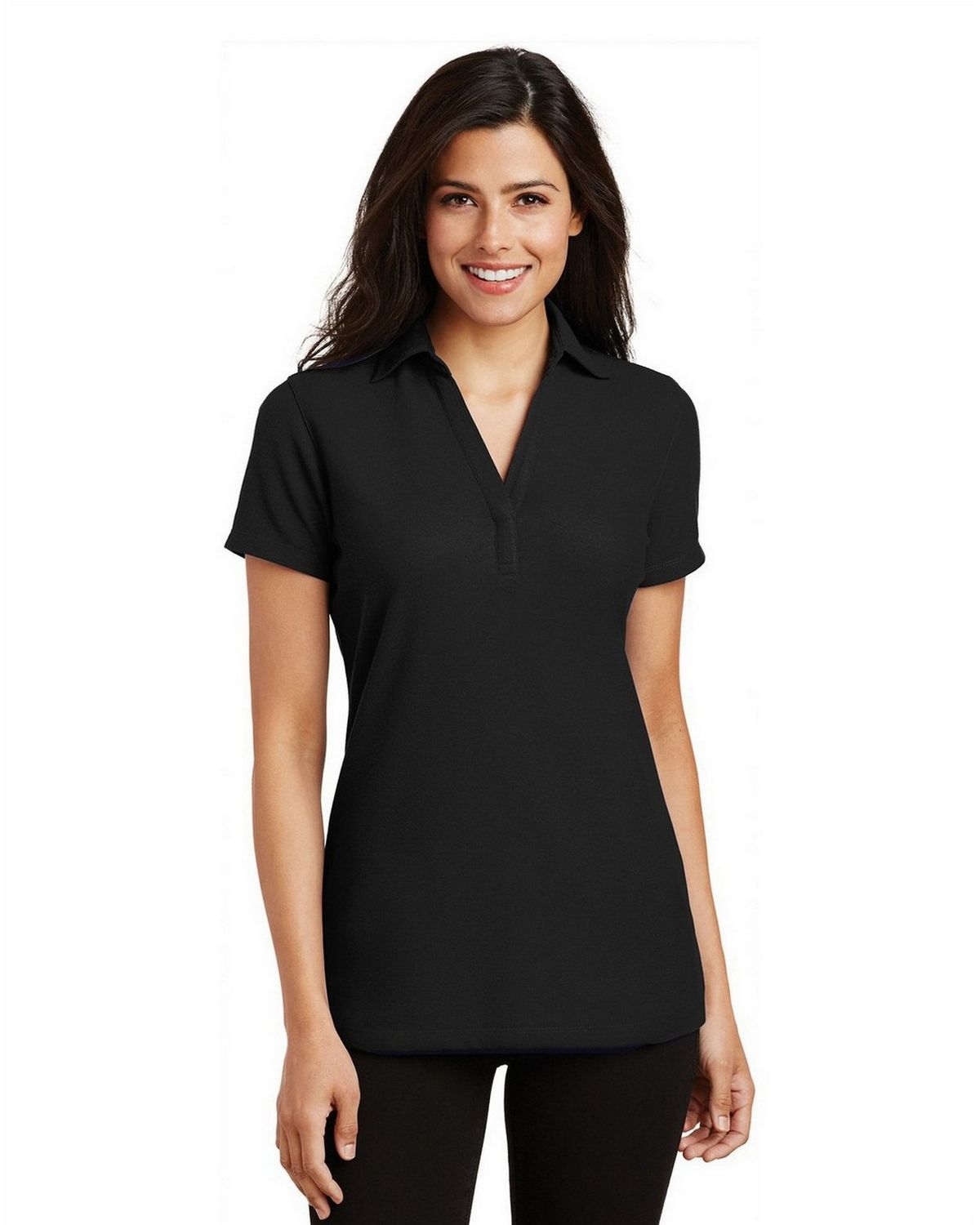 Port Authority L5001 Women's Silk Touch Y-Neck Polo - Black - XS #silk