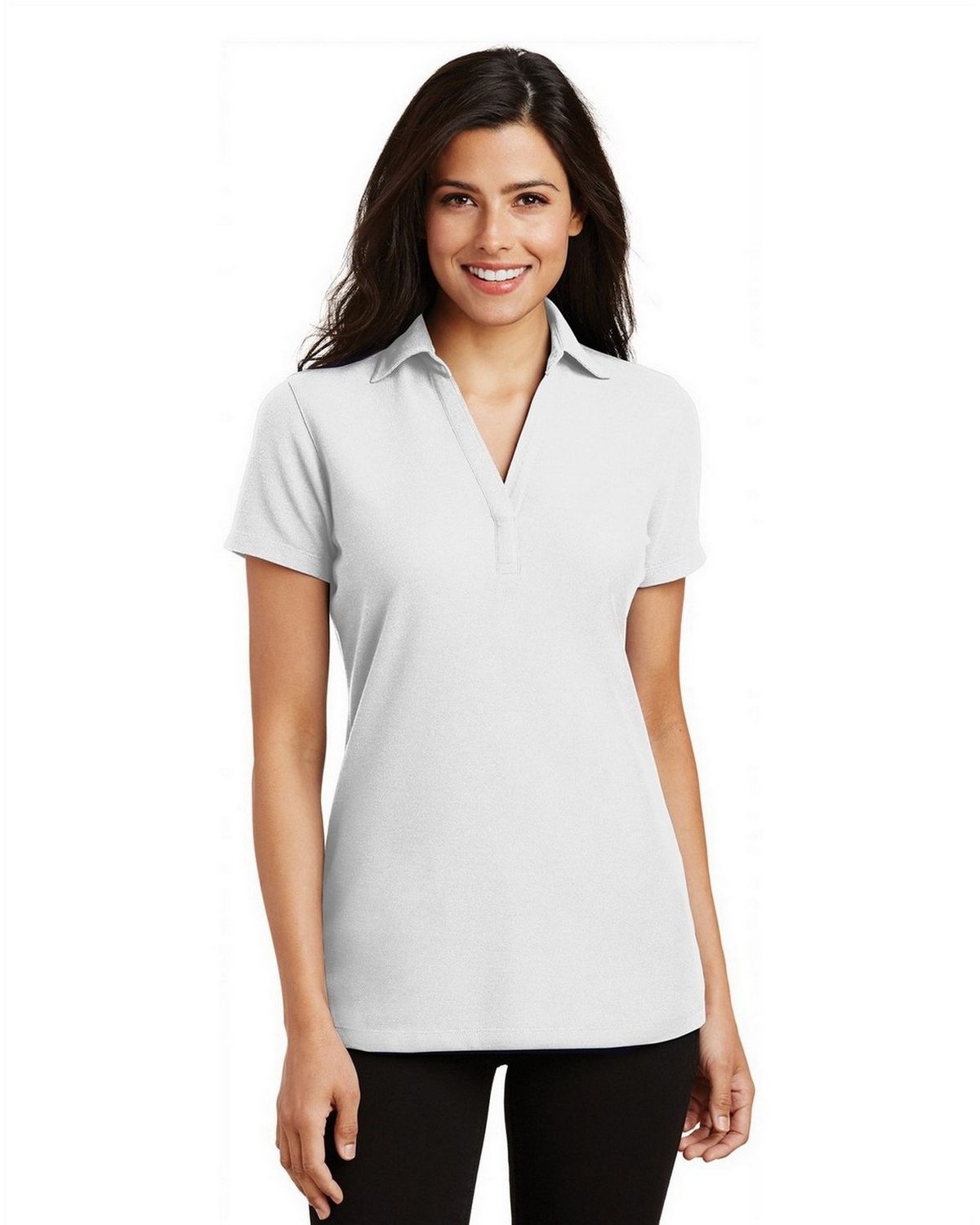 Port Authority L5001 Women's Silk Touch Y-Neck Polo - White - XS #silk