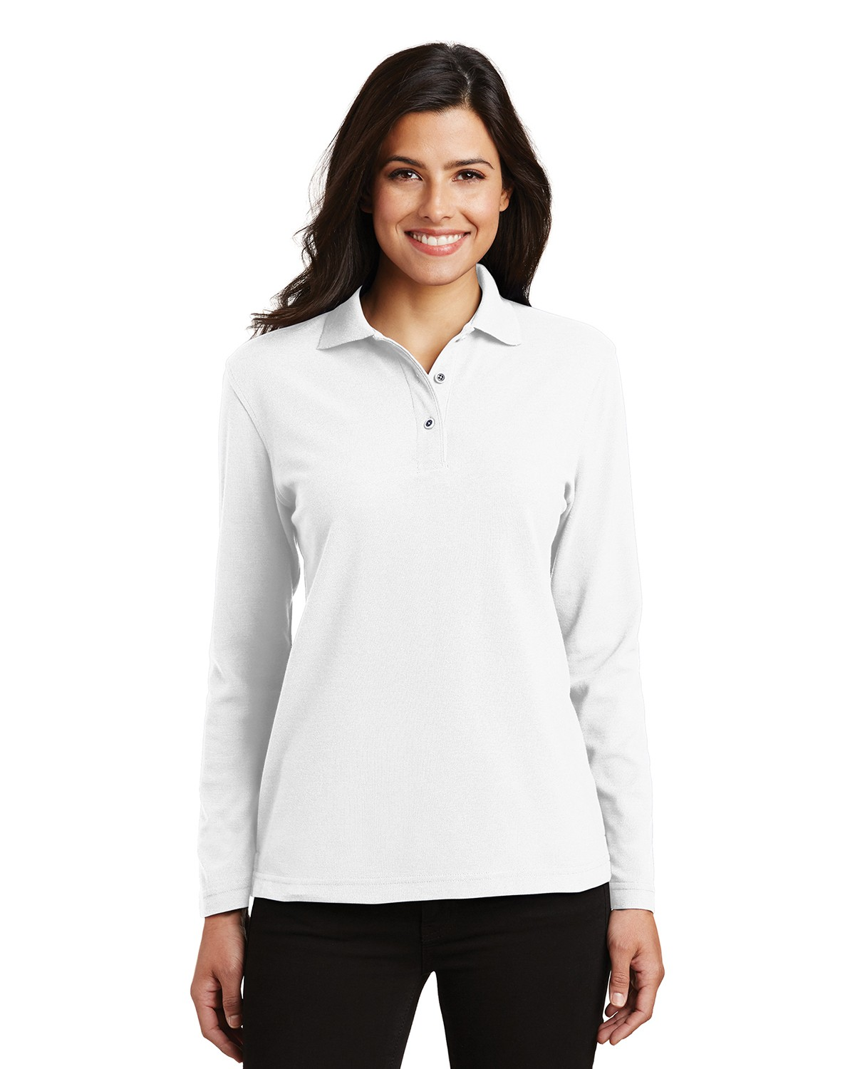Port Authority L500LS Women's Silk Touch Polo - White - XS #silk