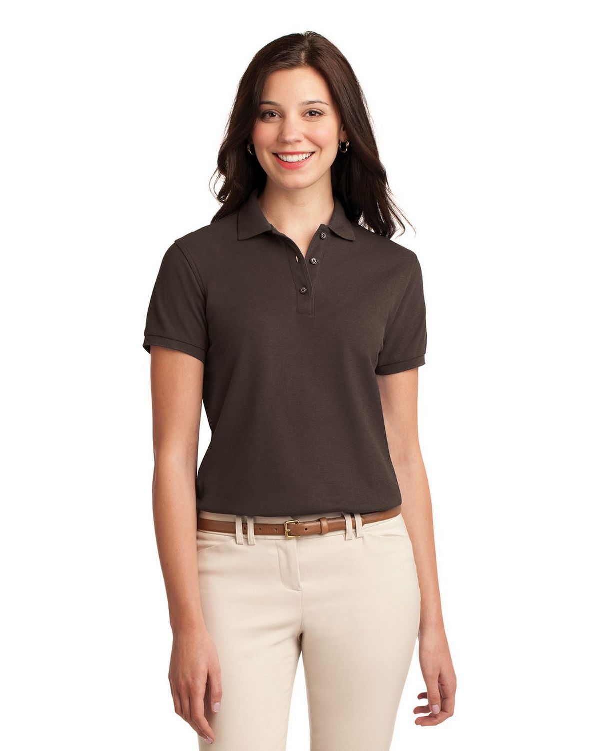Port Authority L500 Women's Silk Touch Polo - Coffee Bean - XS #silk