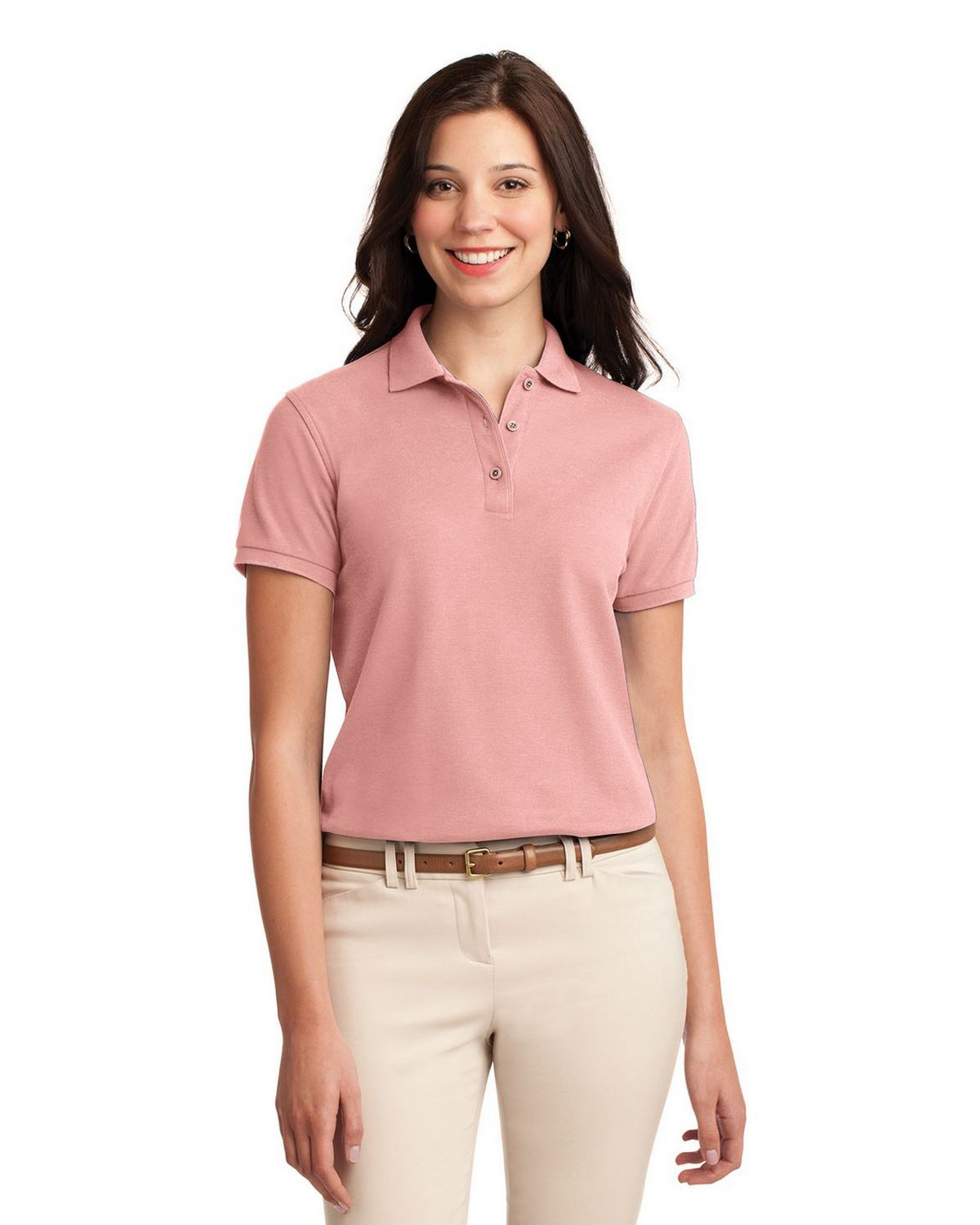 Port Authority L500 Women's Silk Touch Polo - Light Pink - XS #silk