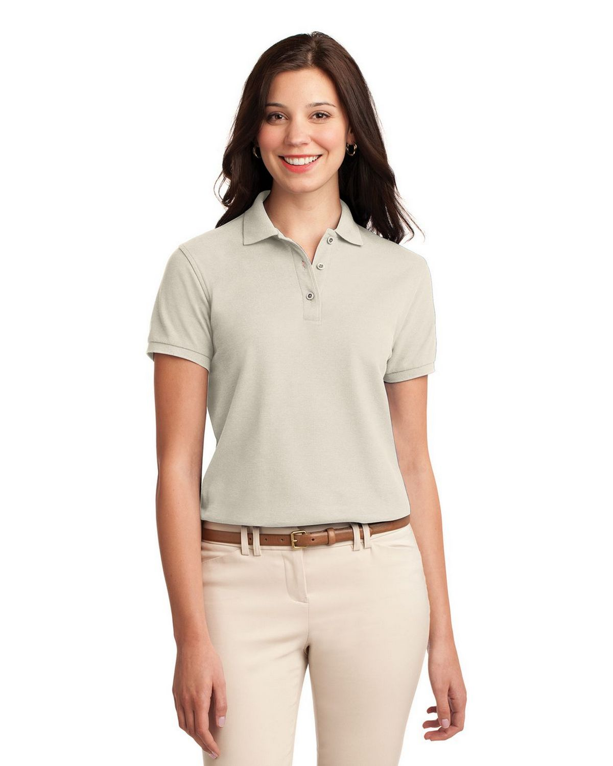 Port Authority L500 Women's Silk Touch Polo - Light Stone - XS #silk