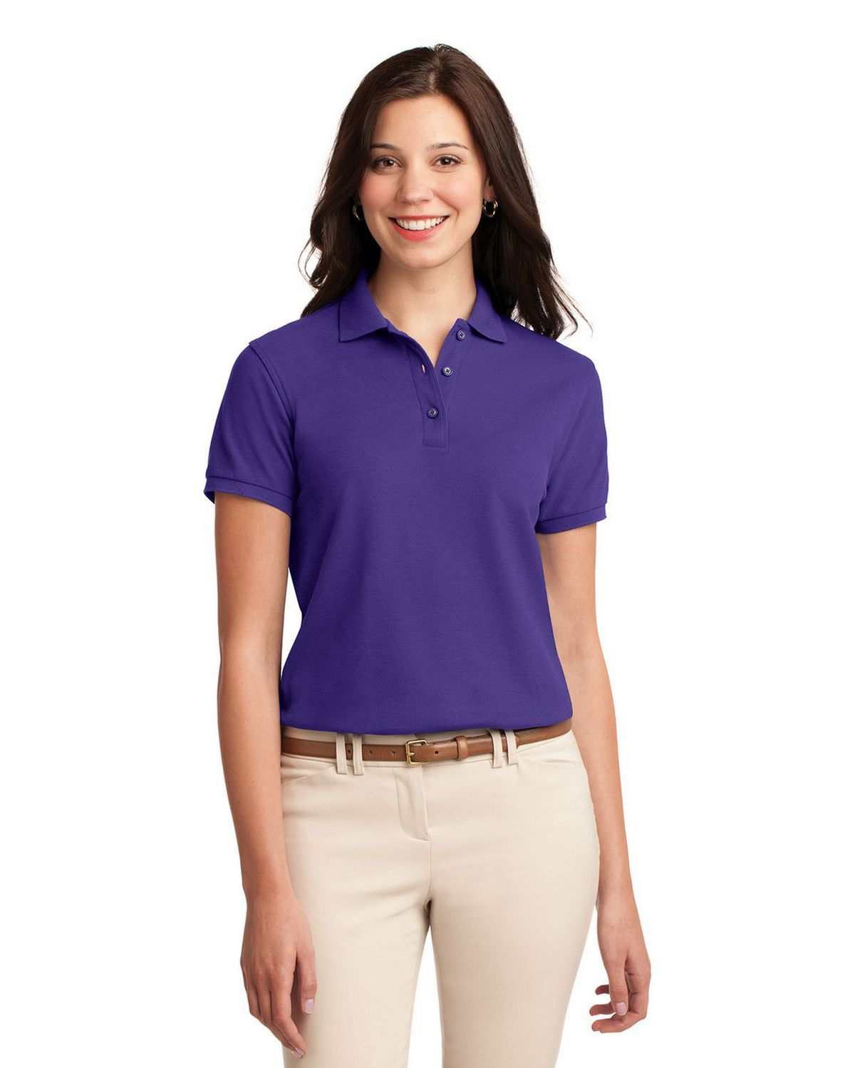 Port Authority L500 Women's Silk Touch Polo - Purple - XS #silk