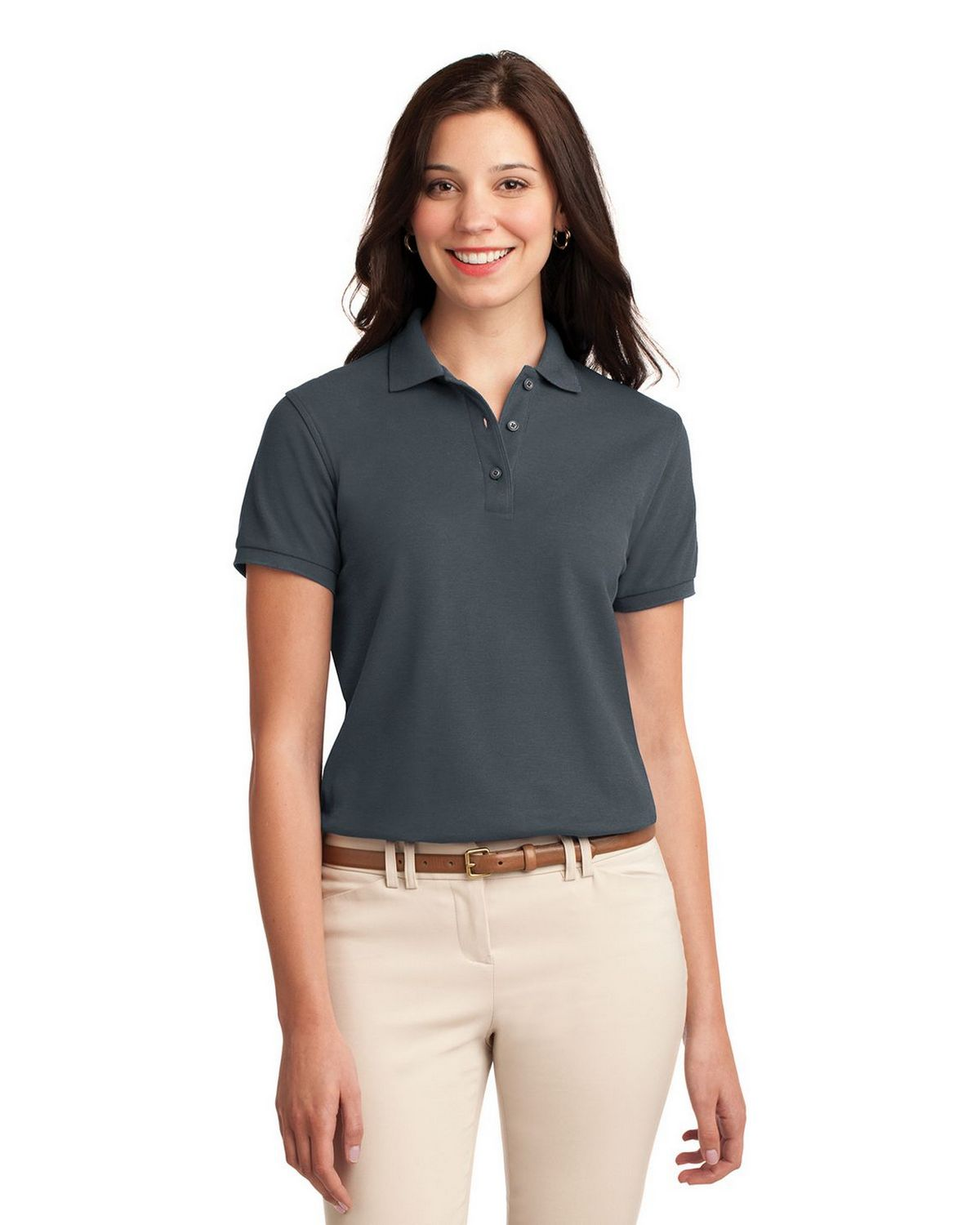 Port Authority L500 Women's Silk Touch Polo - Steel Grey - XS #silk