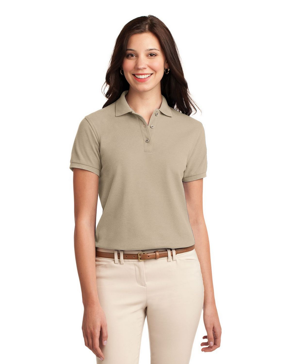 Port Authority L500 Women's Silk Touch Polo - Stone - XS #silk