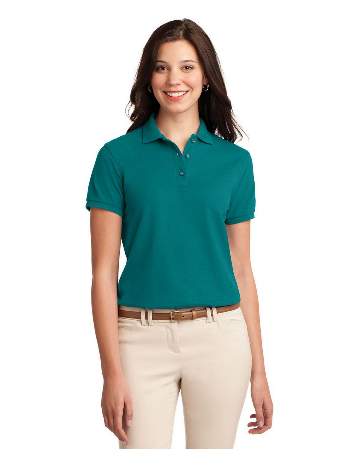 Port Authority L500 Women's Silk Touch Polo - Teal Green - XS #silk