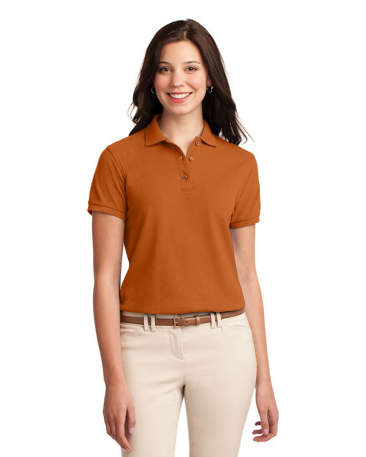 Port Authority L500 Women's Silk Touch Polo - Texas Orange - XS #silk