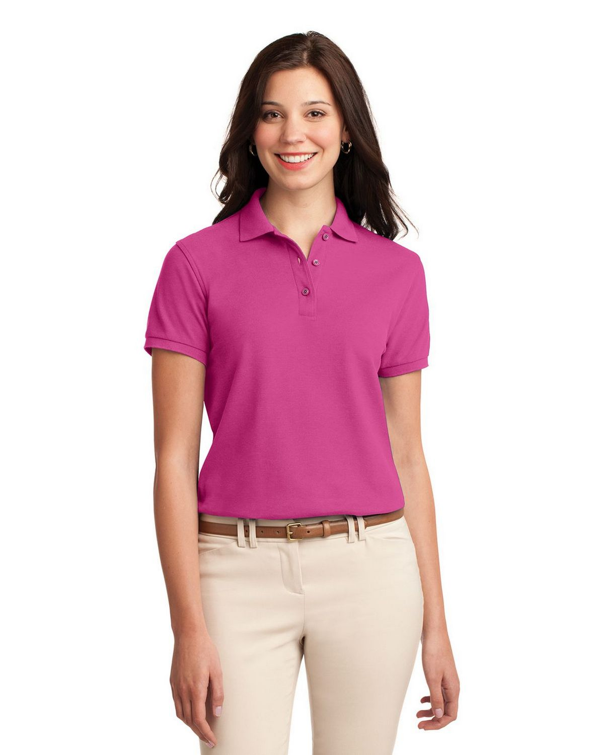 Port Authority L500 Women's Silk Touch Polo - Tropical Pink - XS #silk