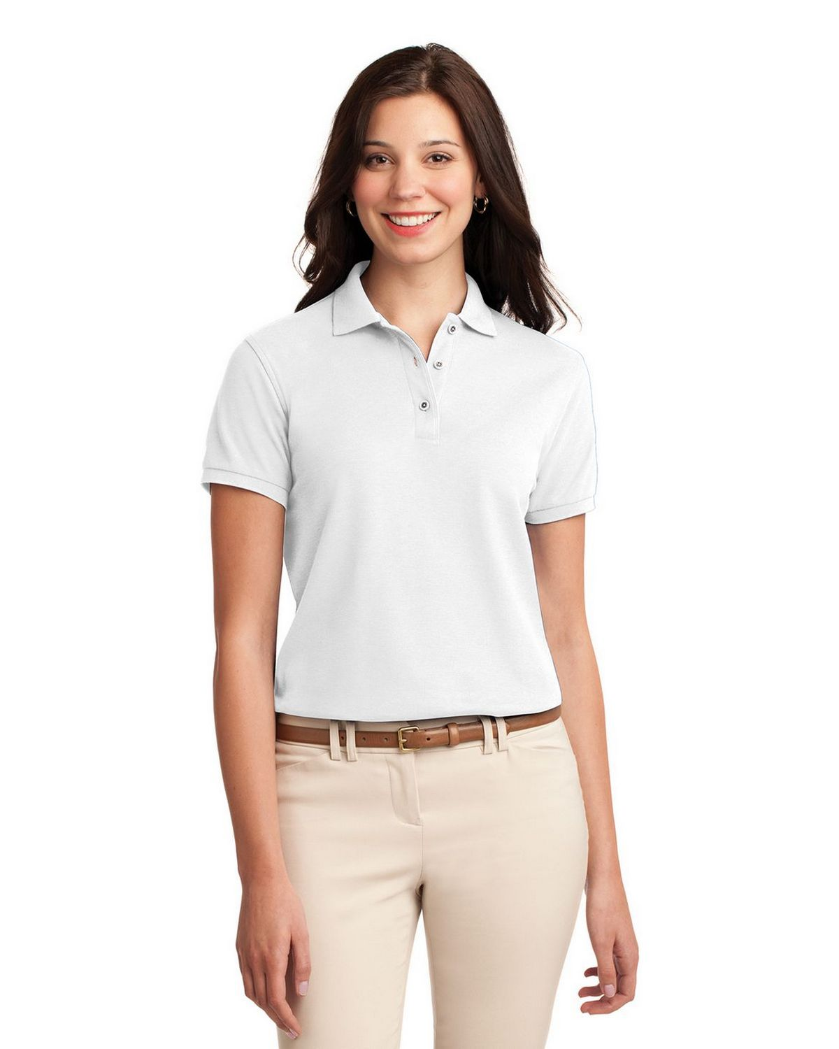 Port Authority L500 Women's Silk Touch Polo - White - XS #silk