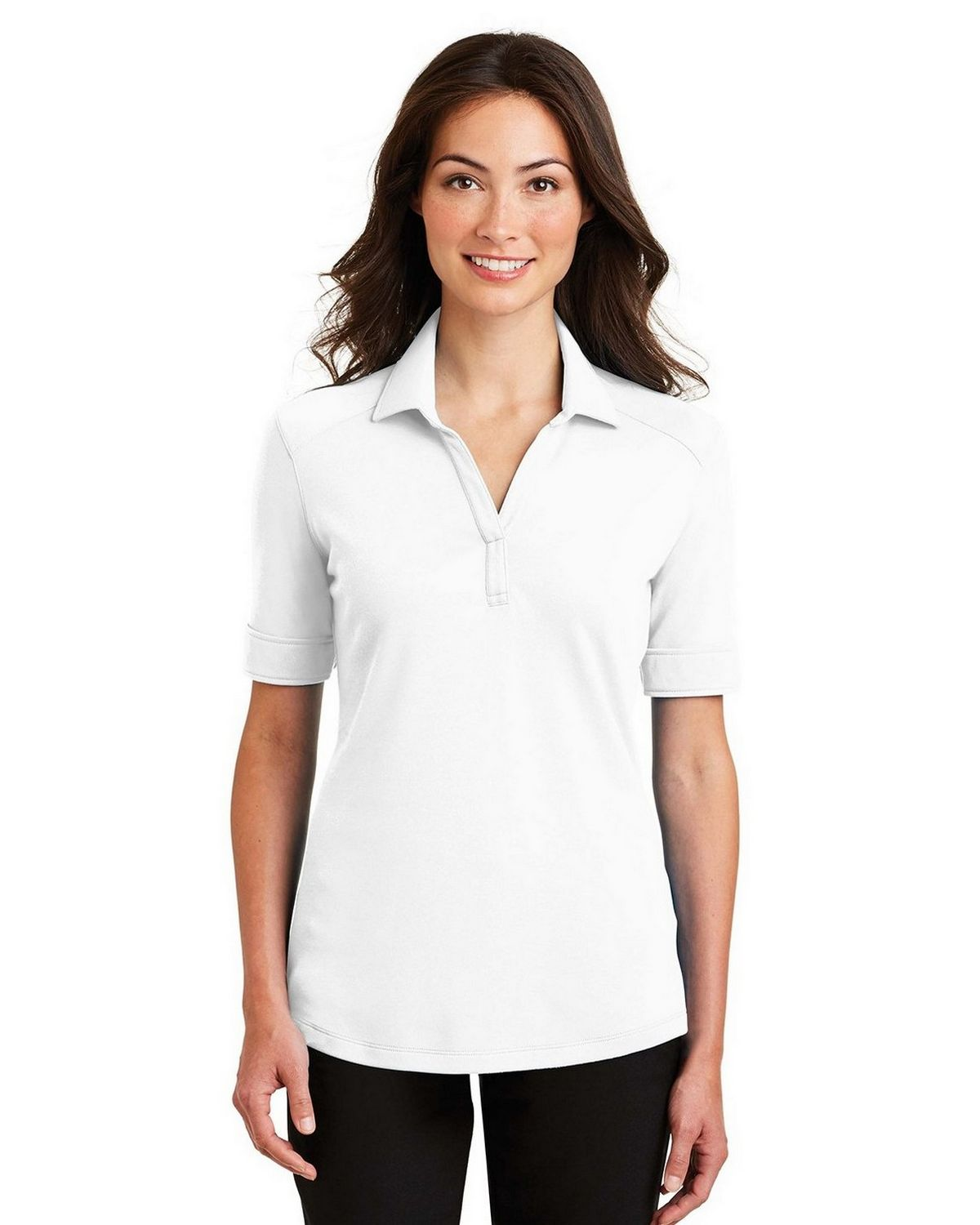 Port Authority L5200 Women's Silk Touch Interlock Performance Polo - White - XS #silk