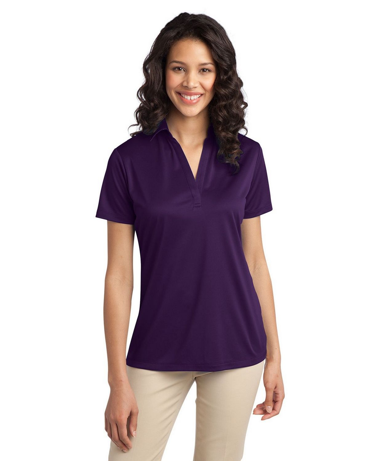 Port Authority L540 Women's Silk Touch Performance Polo - Bright Purple - XS #silk