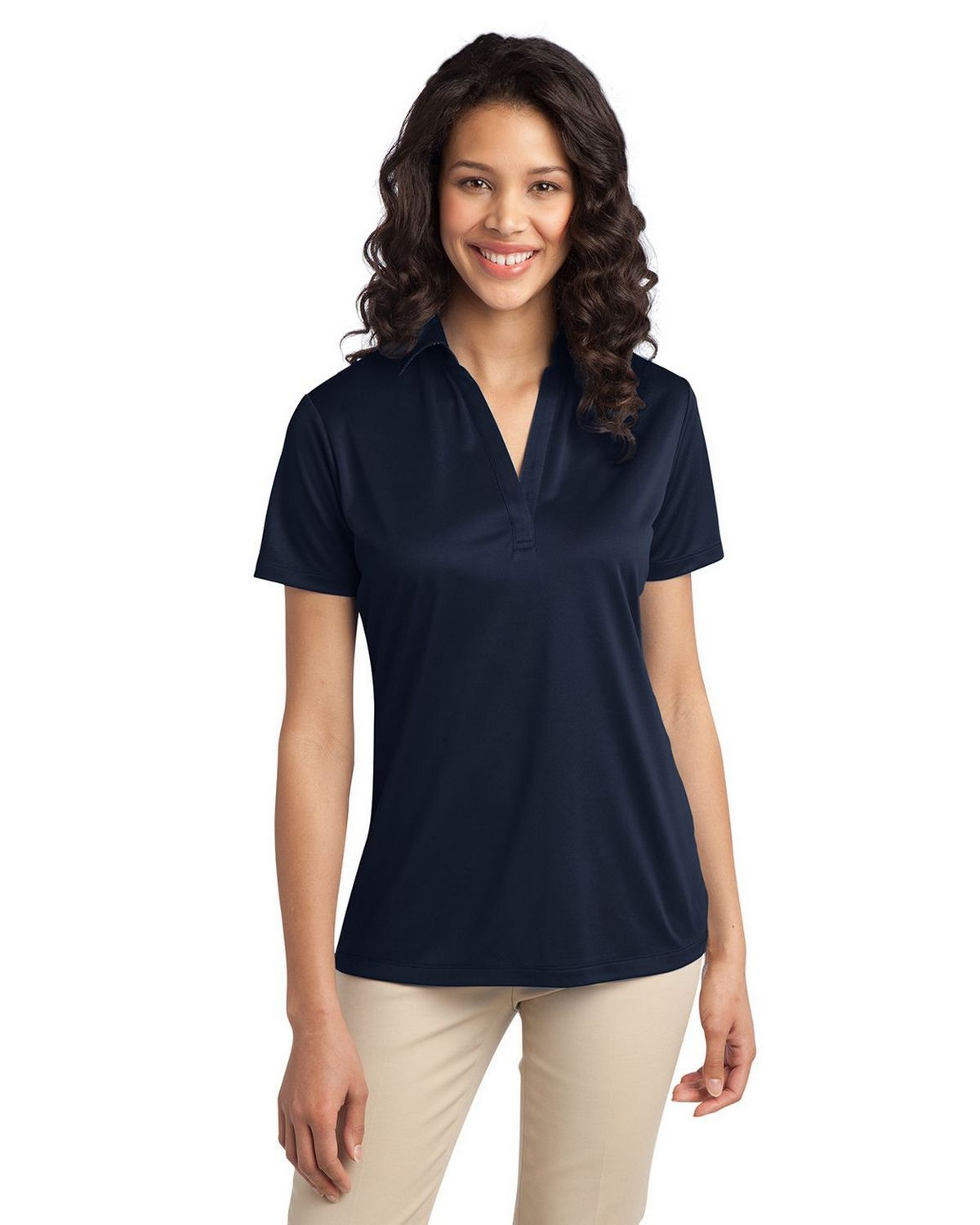 Port Authority L540 Women's Silk Touch Performance Polo - Navy - XS #silk