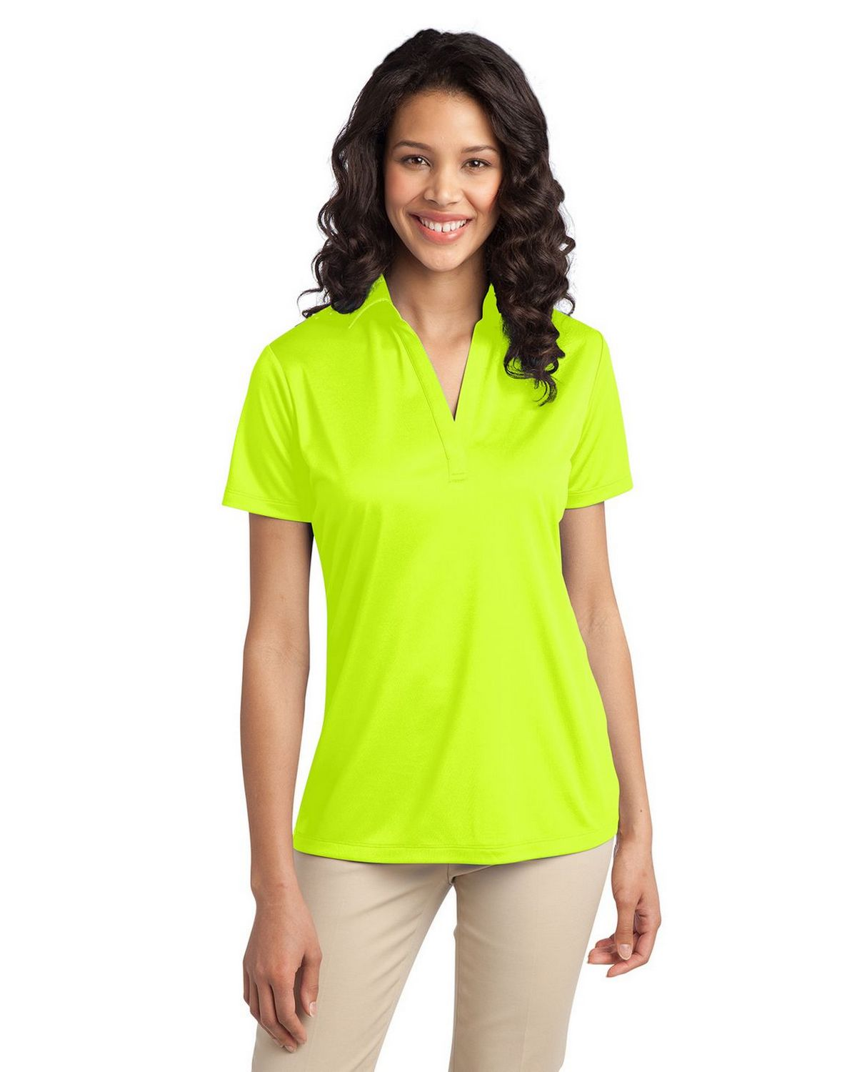 Port Authority L540 Women's Silk Touch Performance Polo - Neon Yellow - XS #silk