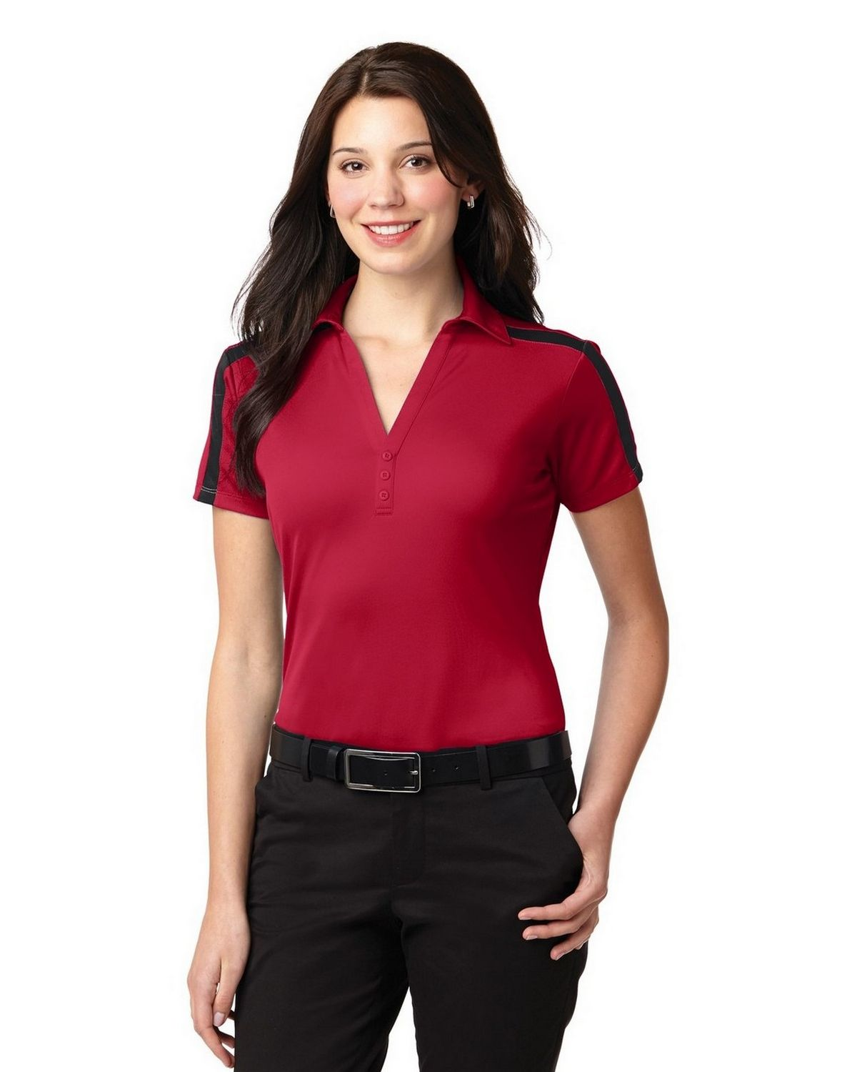 Port Authority L547 Women's Silk Touch Performance Colorblock Stripe Polo - Red/Black - XS #silk