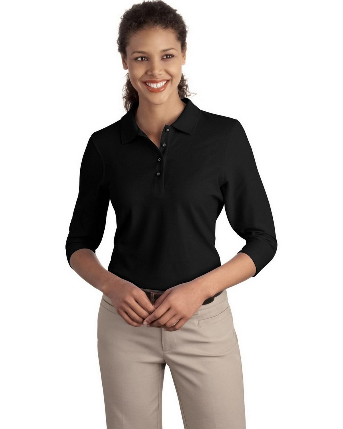 Port Authority L562 Women's Silk Touch 3/4-Sleeve Polo - Black - XS #silk
