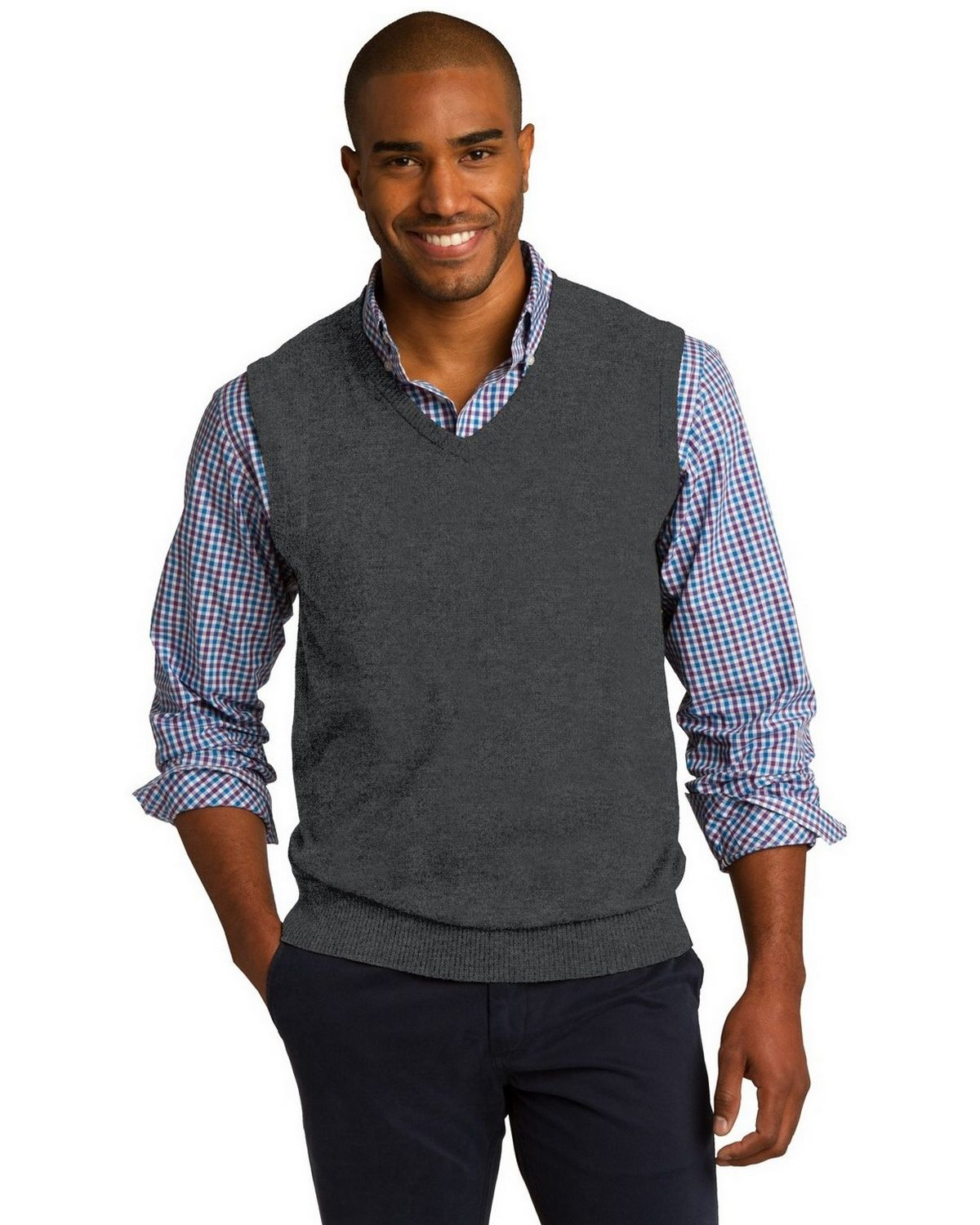 Port Authority SW286 Sweater Vest - Charcoal Heather - XS SW286