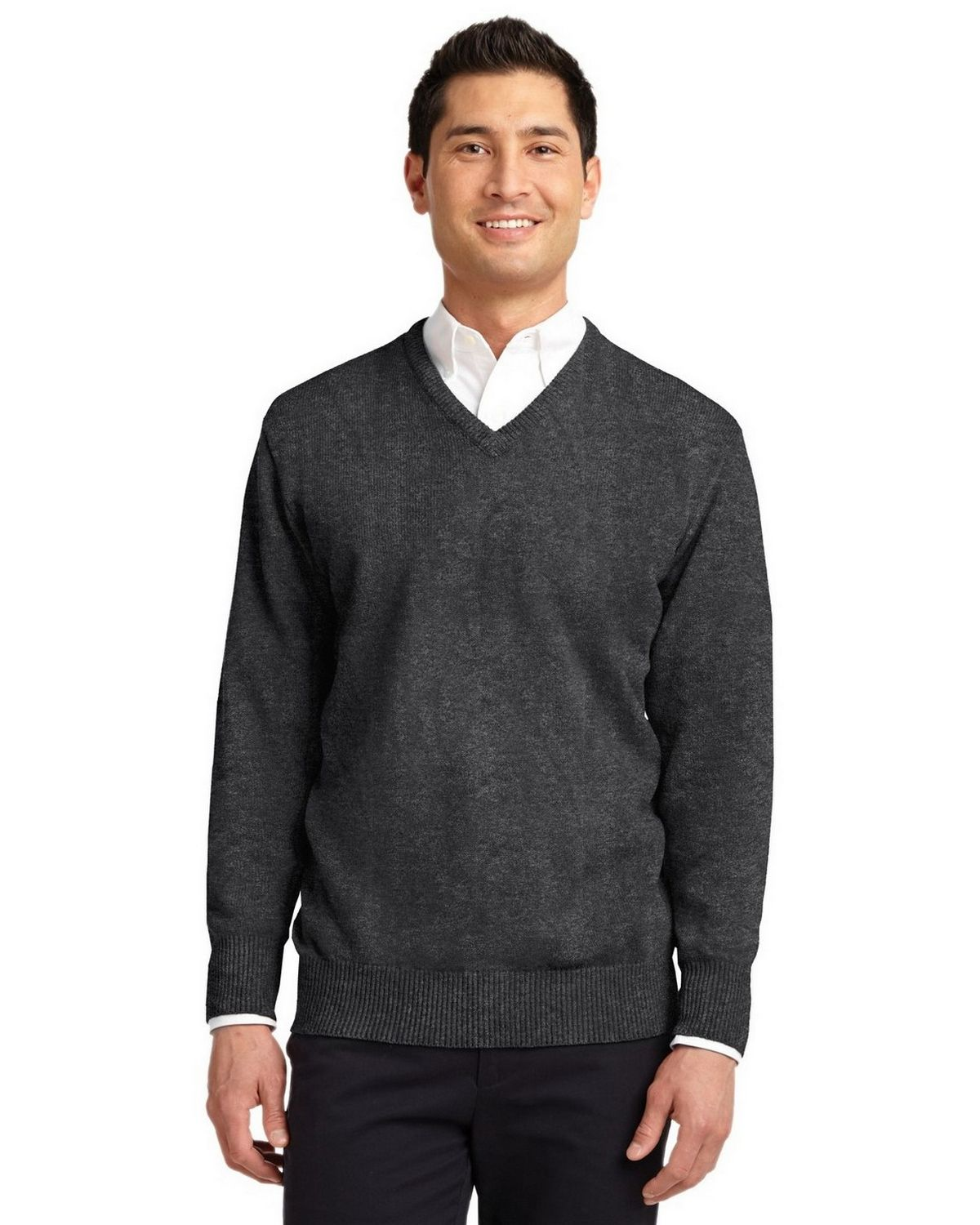 Port Authority SW300 Value V-Neck Sweater - Charcoal Grey - XL SW300