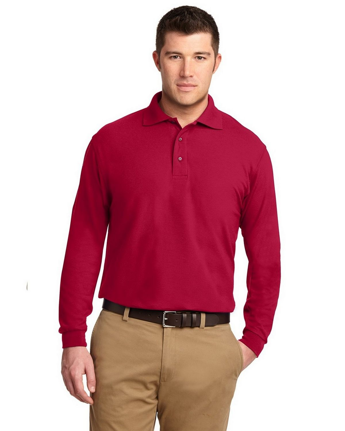 Port Authority TLK500LS Men's Tall Silk Touch Polo - Red - LT #silk