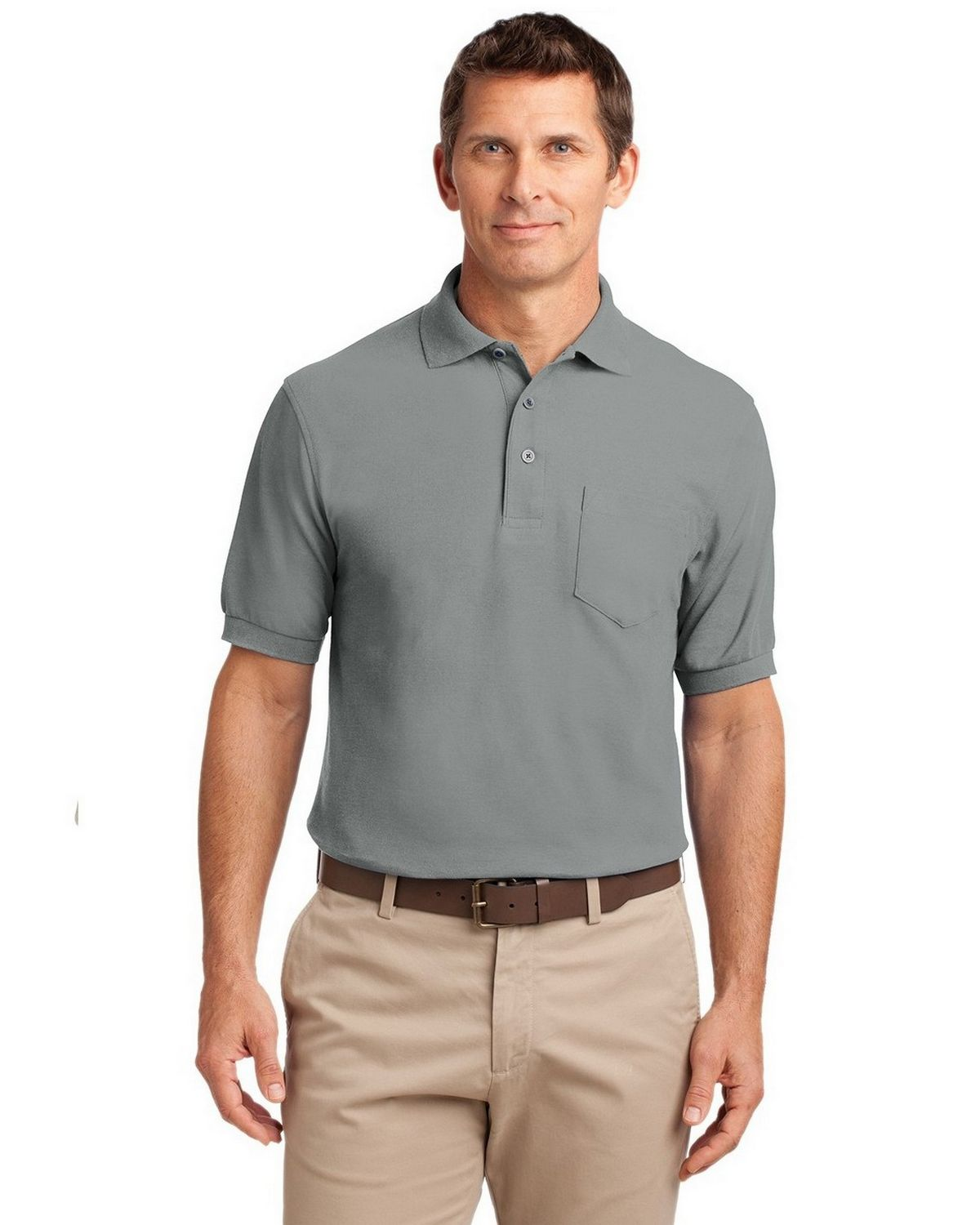 Port Authority TLK500P Men's Tall Silk Touch Polo with Pocket - Cool Grey - LT #silk