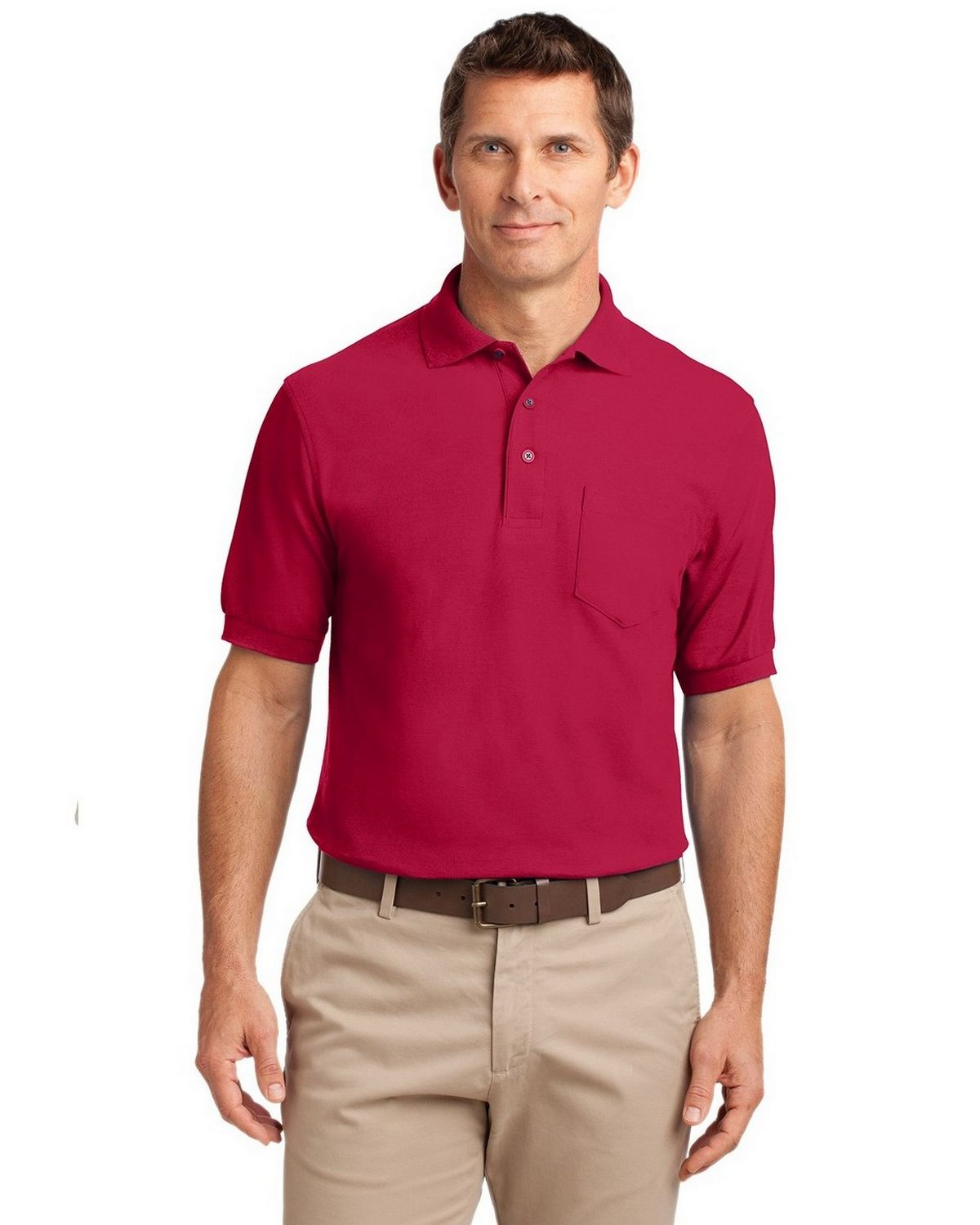 Port Authority TLK500P Men's Tall Silk Touch Polo with Pocket - Red - LT #silk