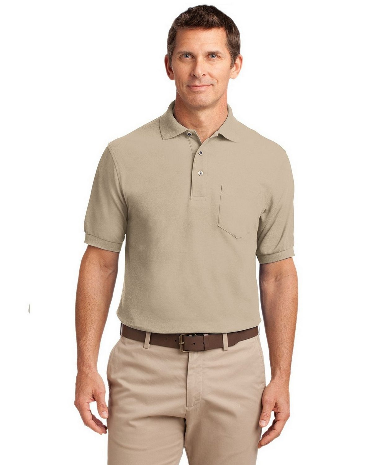 Port Authority TLK500P Men's Tall Silk Touch Polo with Pocket - Stone - LT #silk