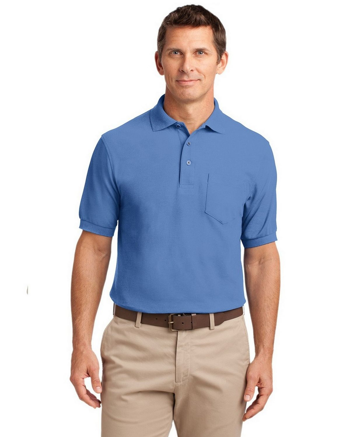 Port Authority TLK500P Men's Tall Silk Touch Polo with Pocket - Ultramarine Blue - LT #silk