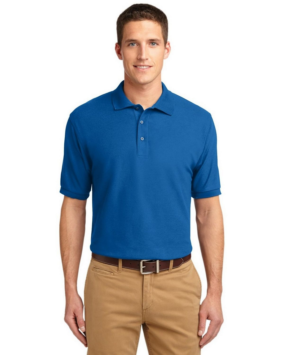 Port Authority TLK500 Men's Tall Silk Touch Polo - Strong Blue - LT #silk