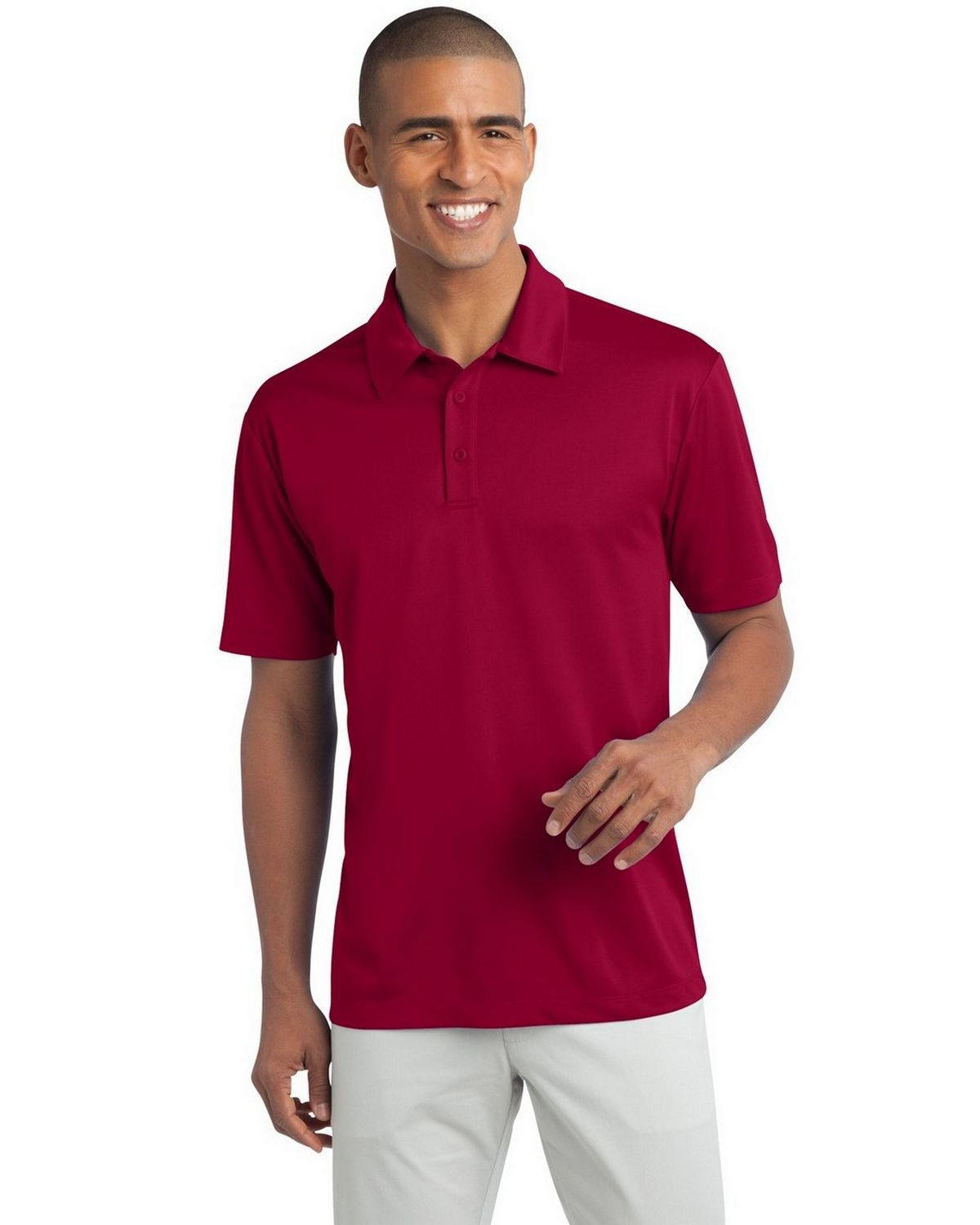 Port Authority TLK540 Men's Tall Silk Touch Performance Polo - Red - LT #silk