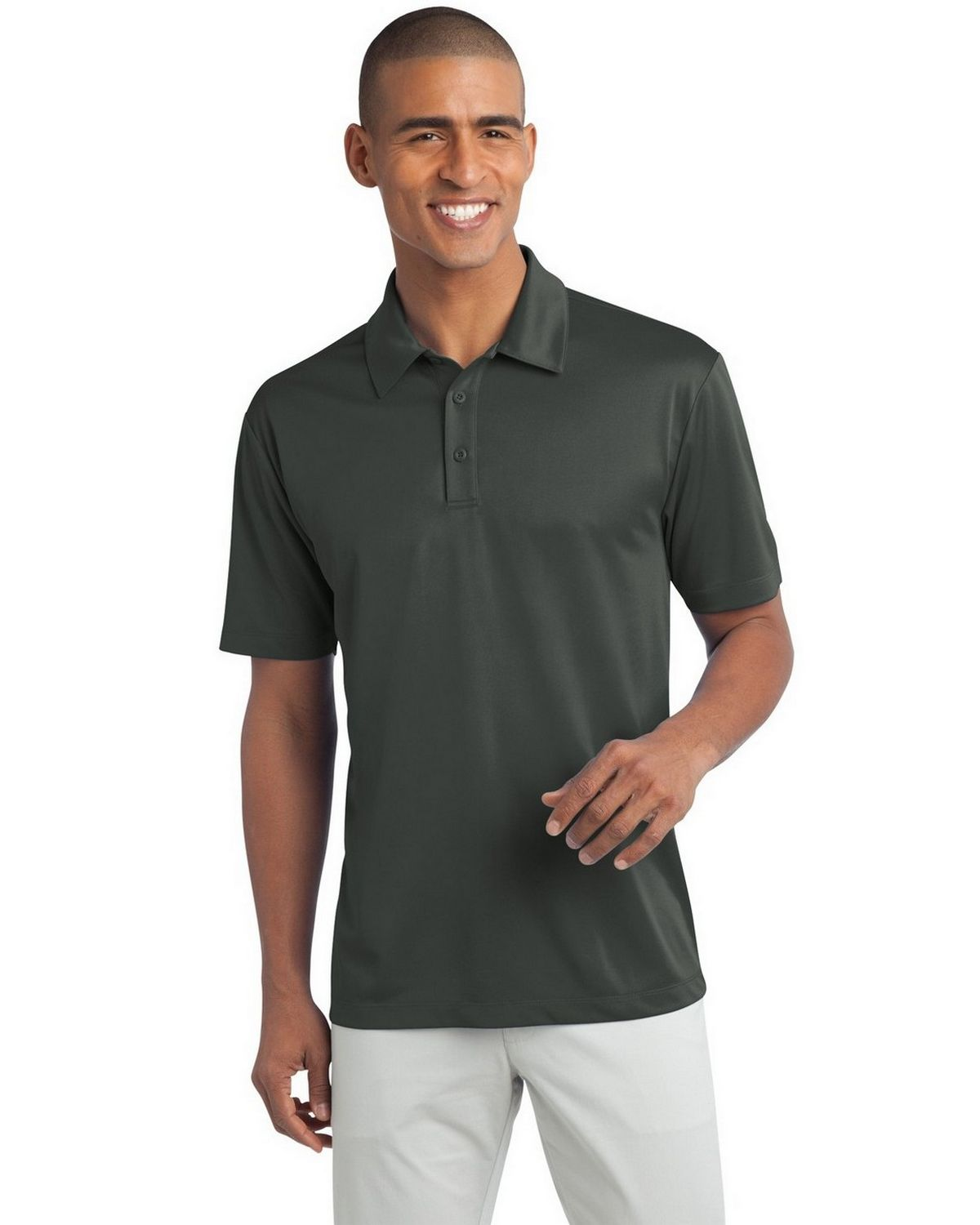 Port Authority TLK540 Men's Tall Silk Touch Performance Polo - Steel Grey - LT #silk
