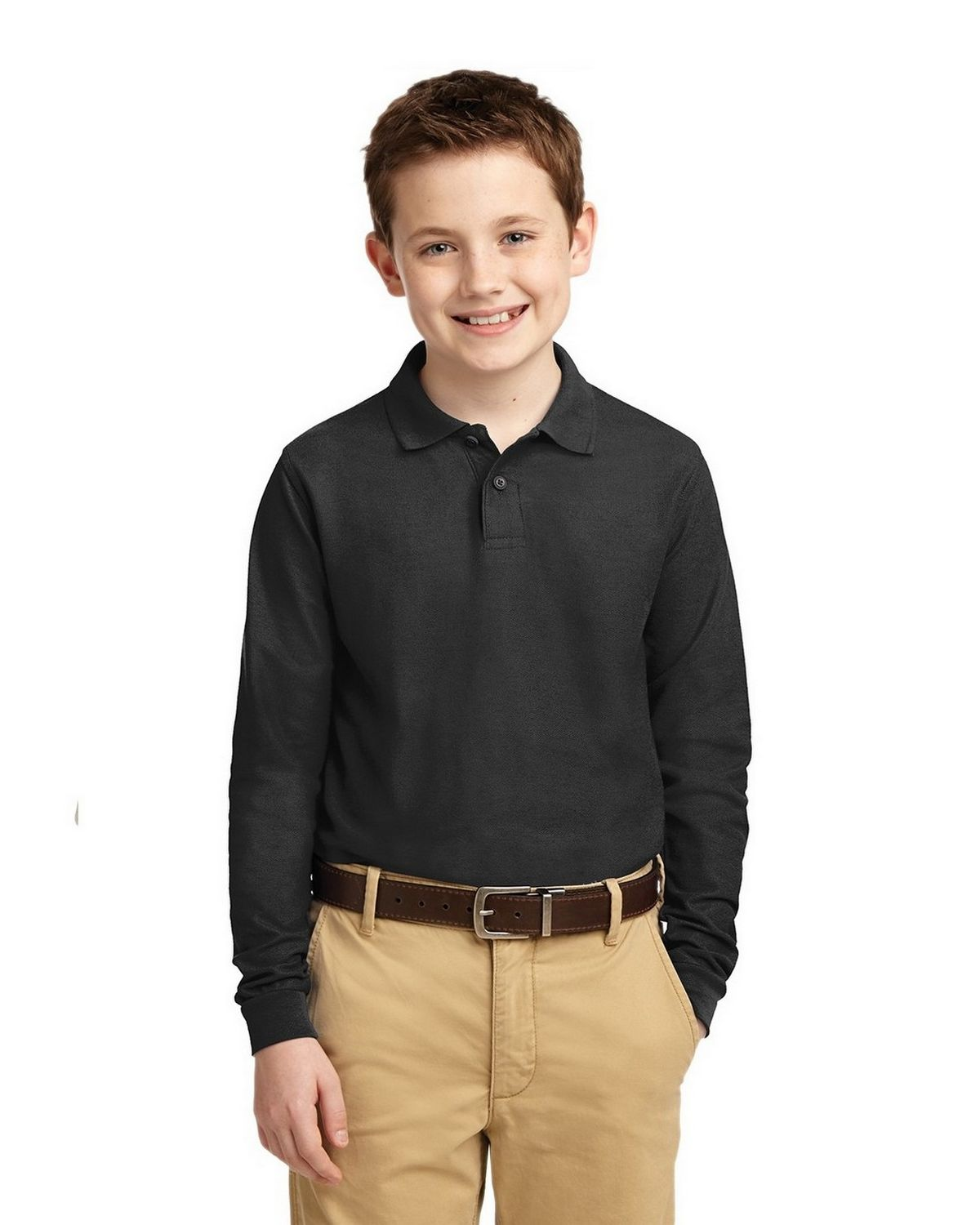 Port Authority Y500LS Youth Long Sleeve Silk Touch Polo - Black - XS #silk