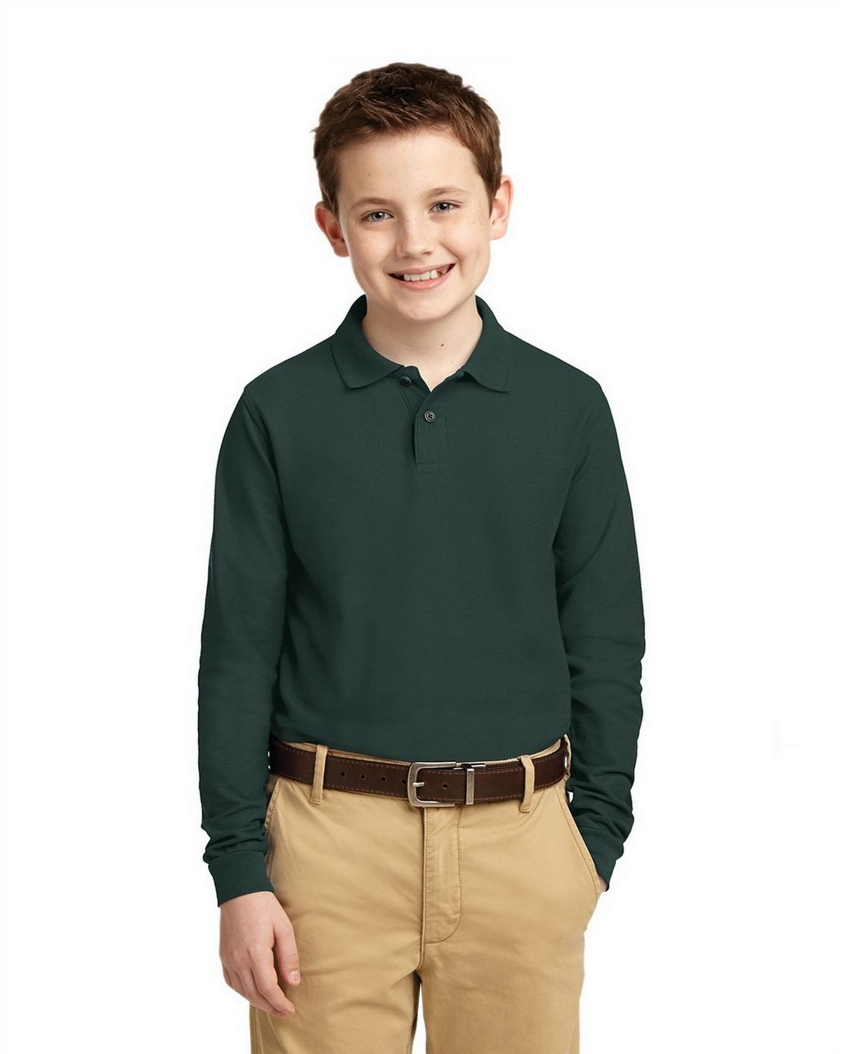 Port Authority Y500LS Youth Long Sleeve Silk Touch Polo - Dark Green - XS #silk
