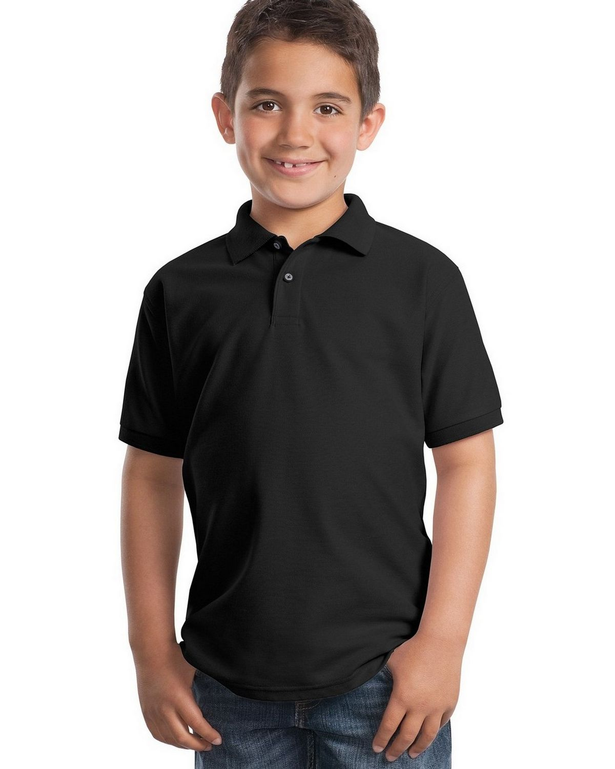 Port Authority Y500 Youth Silk Touch Polo - Black - XS #silk