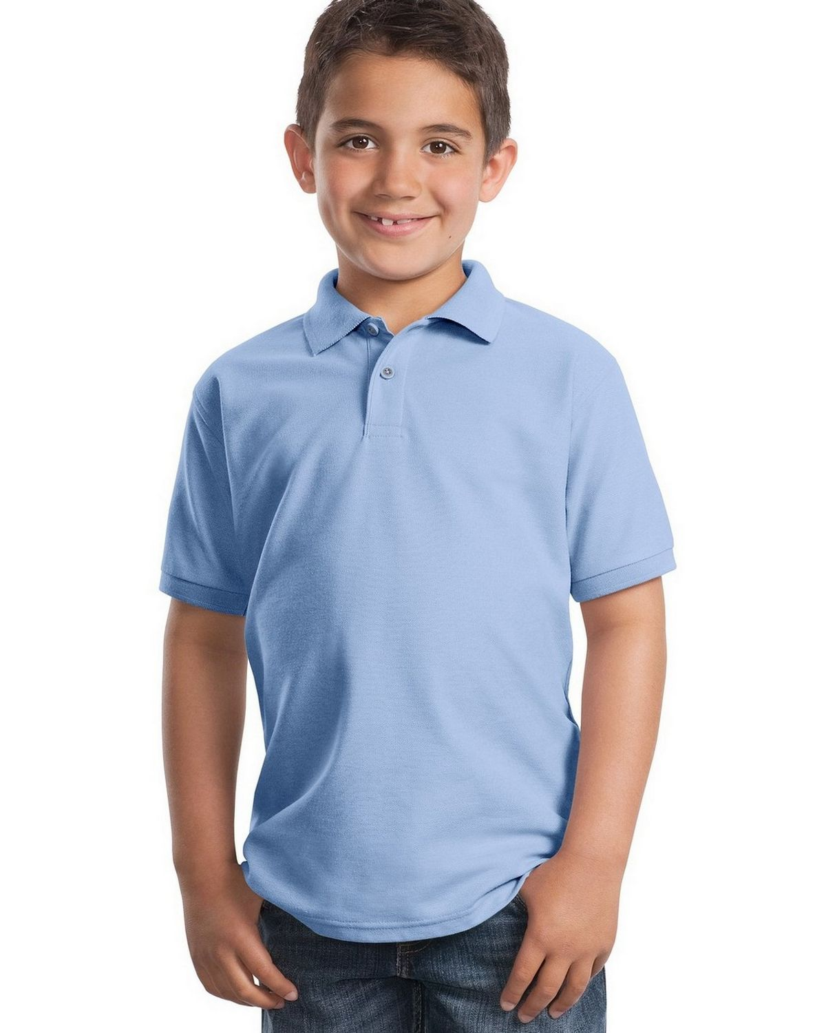 Port Authority Y500 Youth Silk Touch Polo - Light Blue - XS #silk