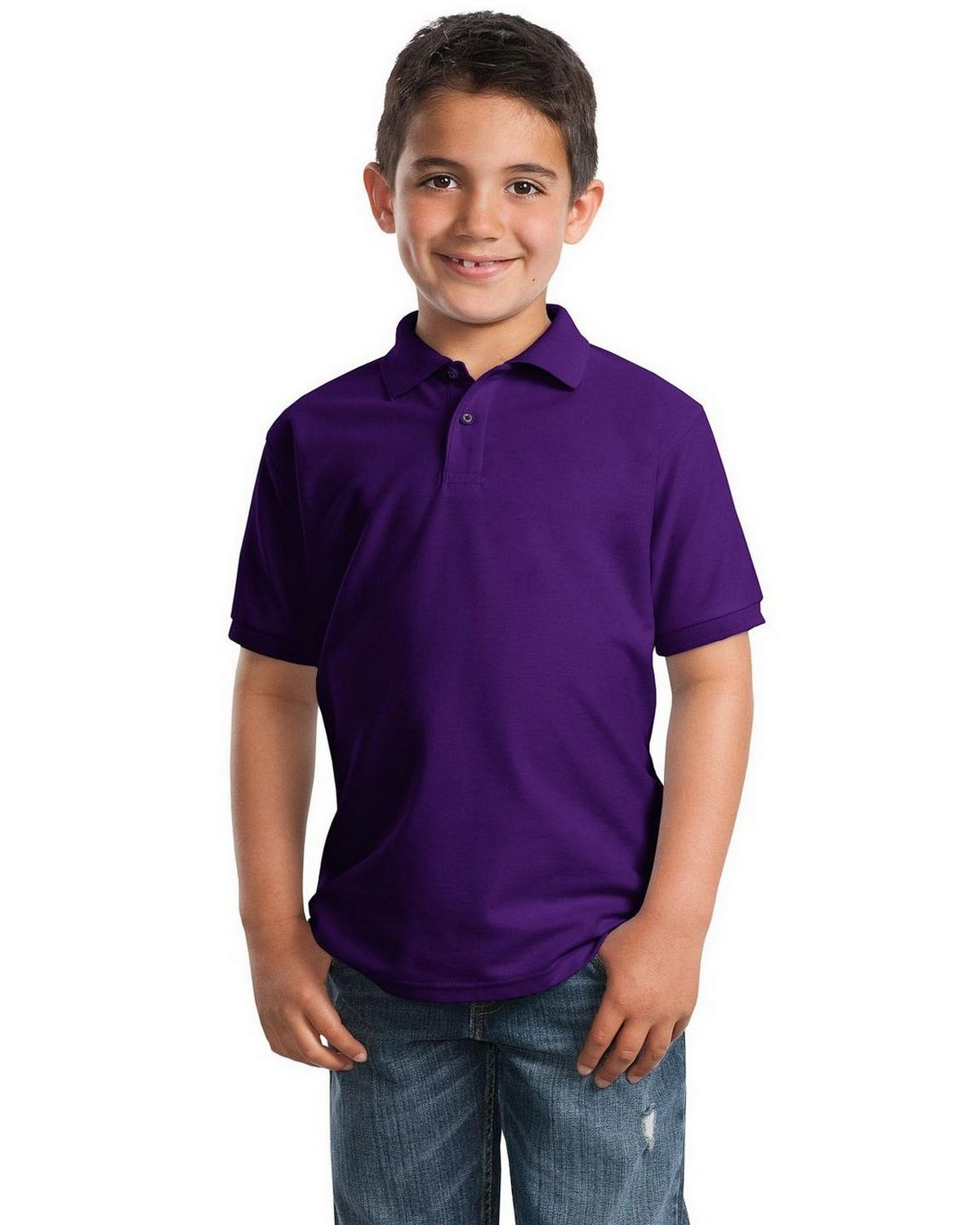 Port Authority Y500 Youth Silk Touch Polo - Purple - XS #silk