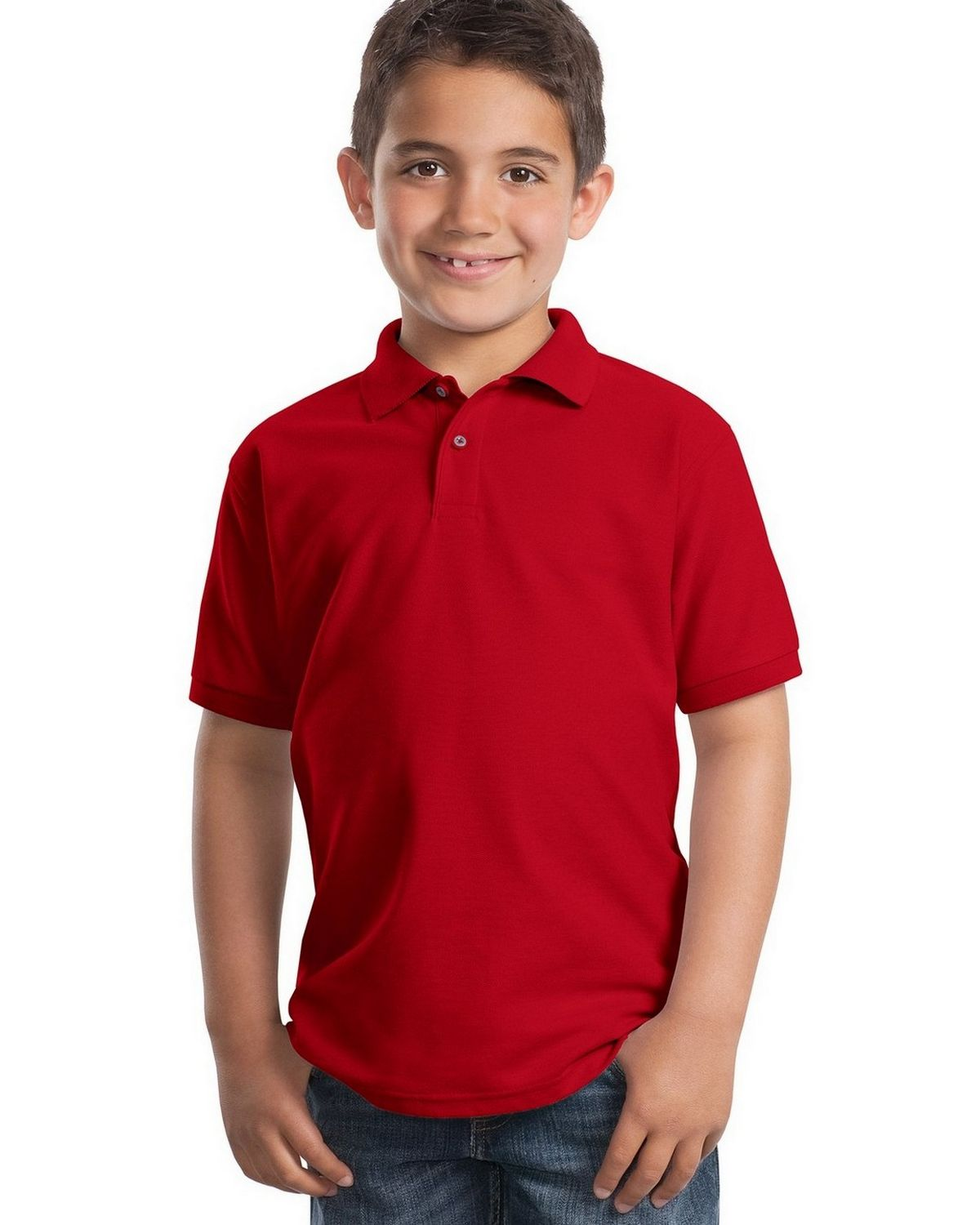 Port Authority Y500 Youth Silk Touch Polo - Red - XS #silk